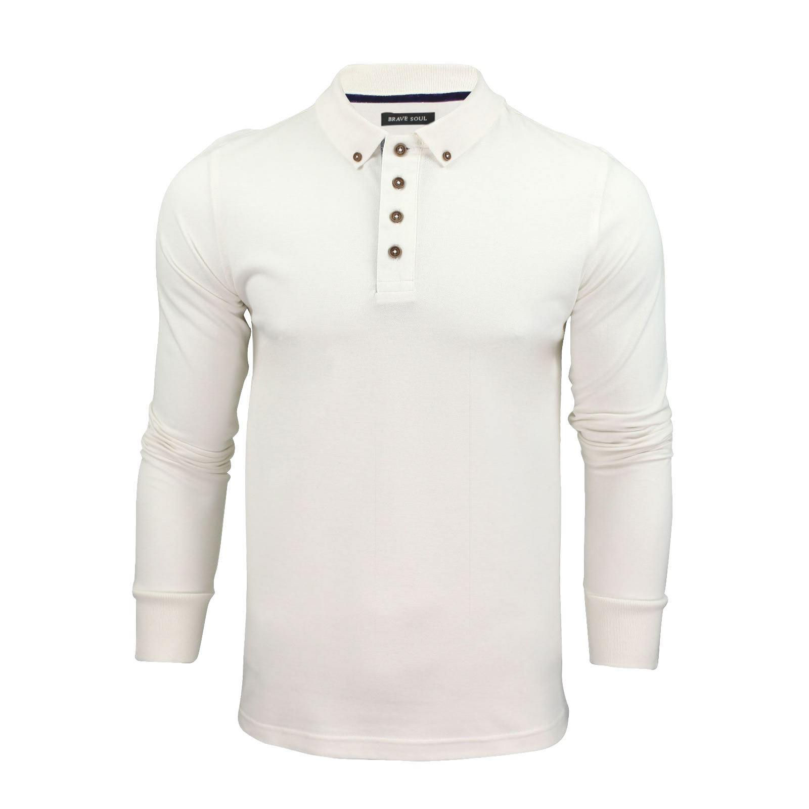 Mens polo t shirt brave soul lincoln long sleeve cotton for Mens long sleeve casual cotton shirts