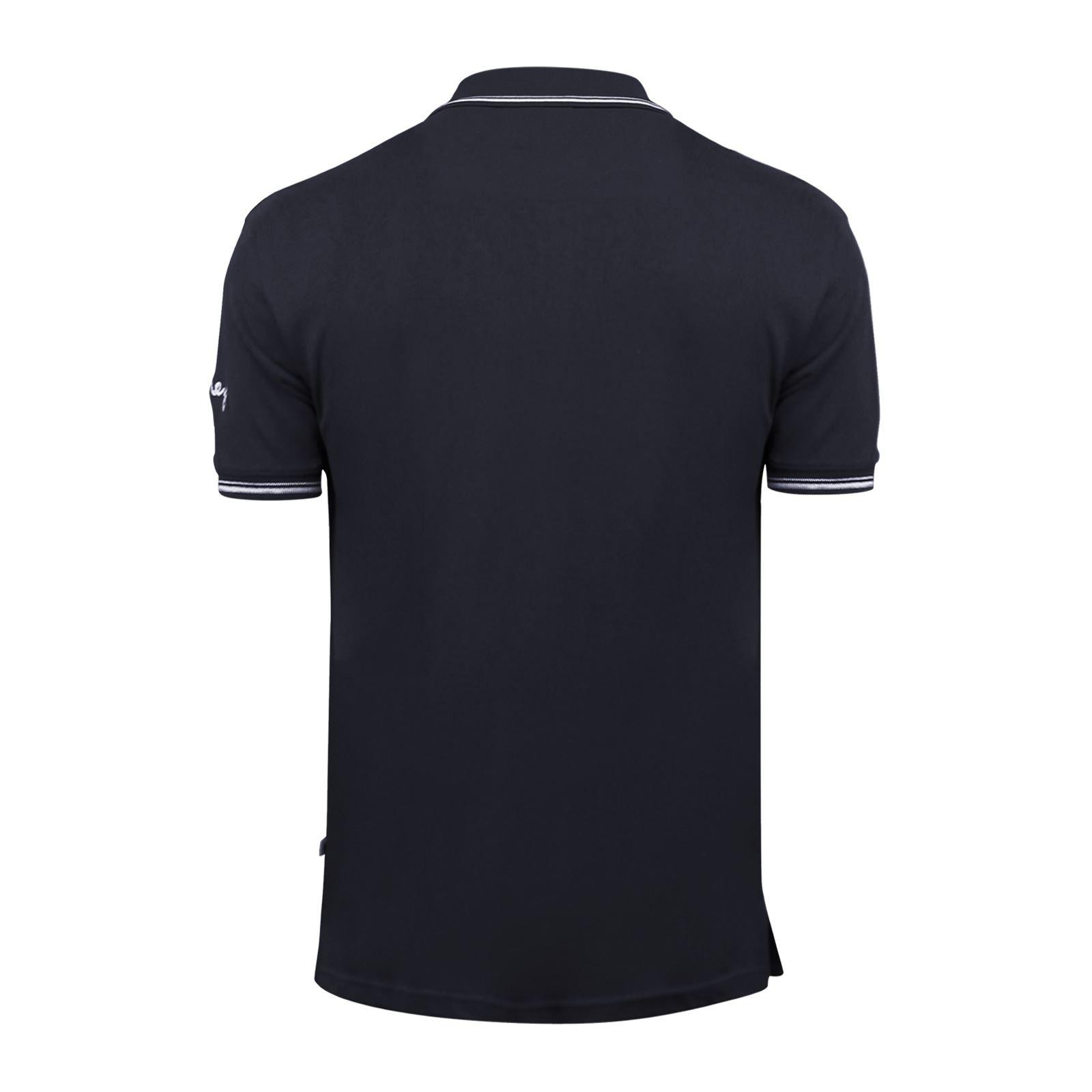 Argent-Comp-pour-Homme-Polo-Shirt-a-Manches-Courtes-en-Coton-Col-Haut-Decontracte miniature 11