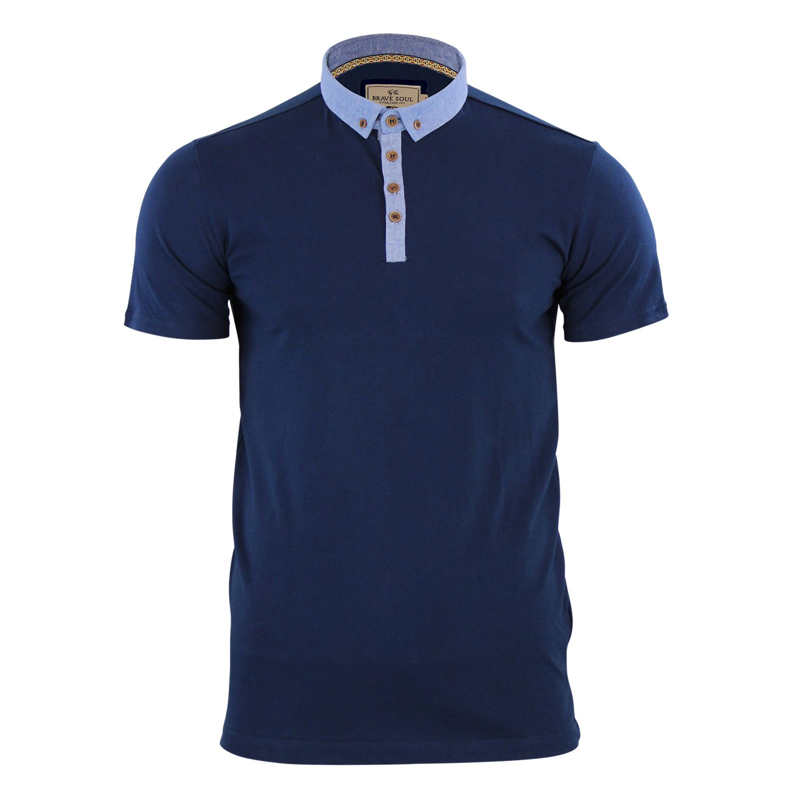 Mens polo t shirt brave soul glover cotton collared short for Mens casual collared shirts