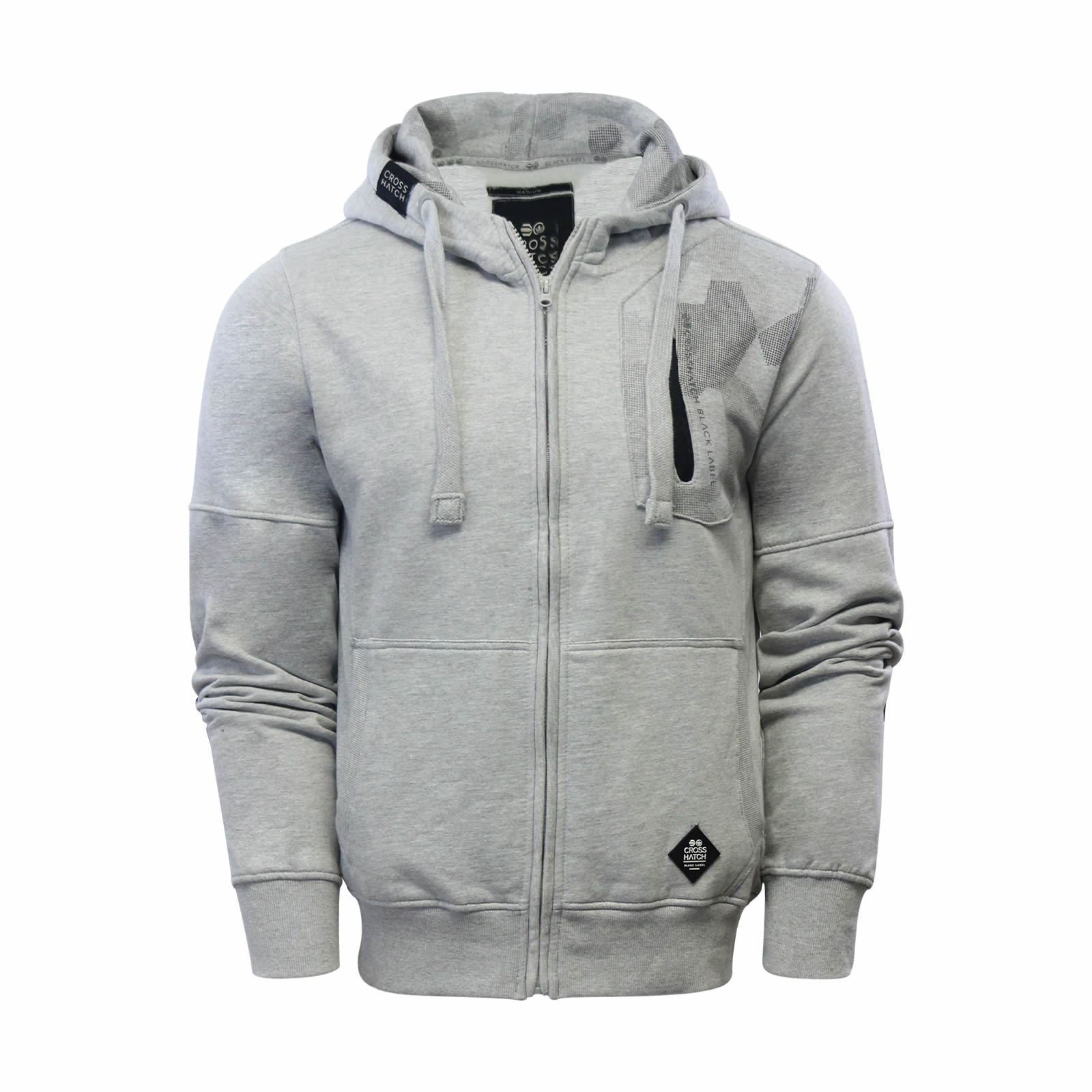 Mens-Hoodie-Crosshatch-Radzim-Cotton-Zip-Up-Hooded-Sweater