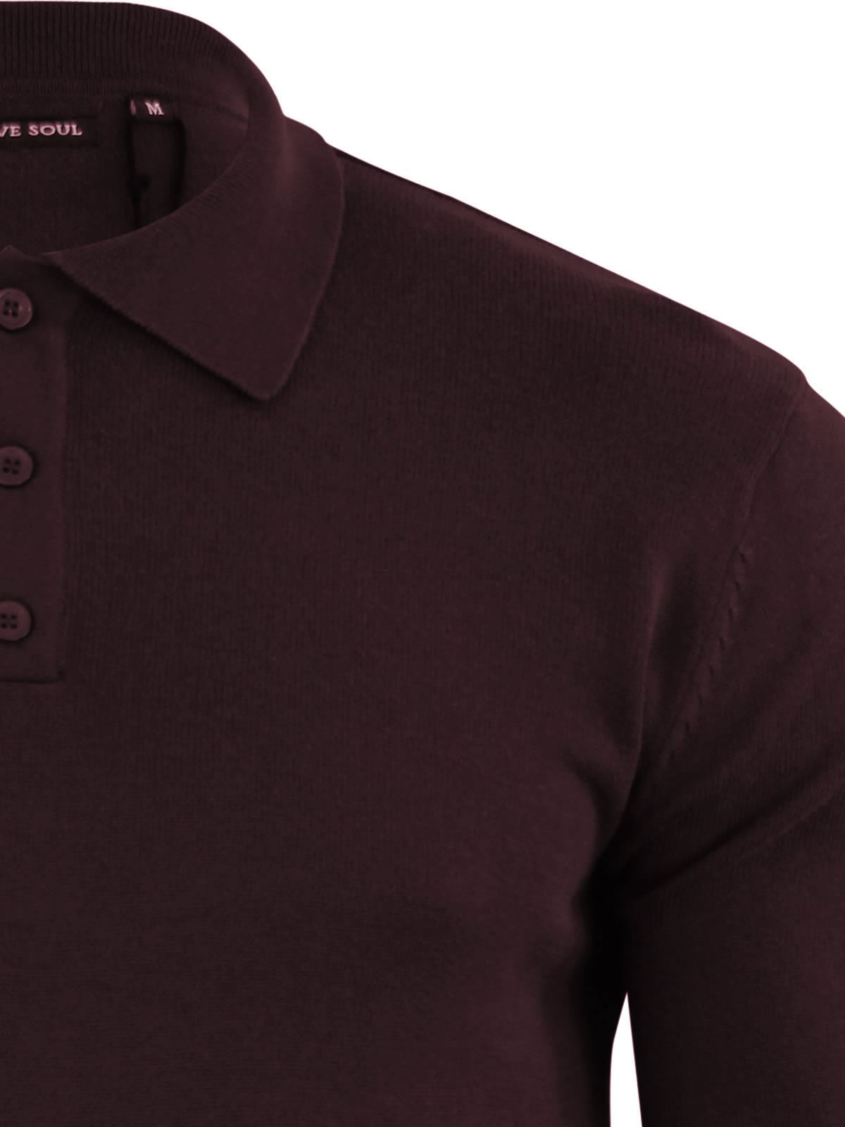 Brave-Soul-Patte-De-Boutonnage-Homme-Tricot-Polo-T-Shirt-a-Col-Pull miniature 28