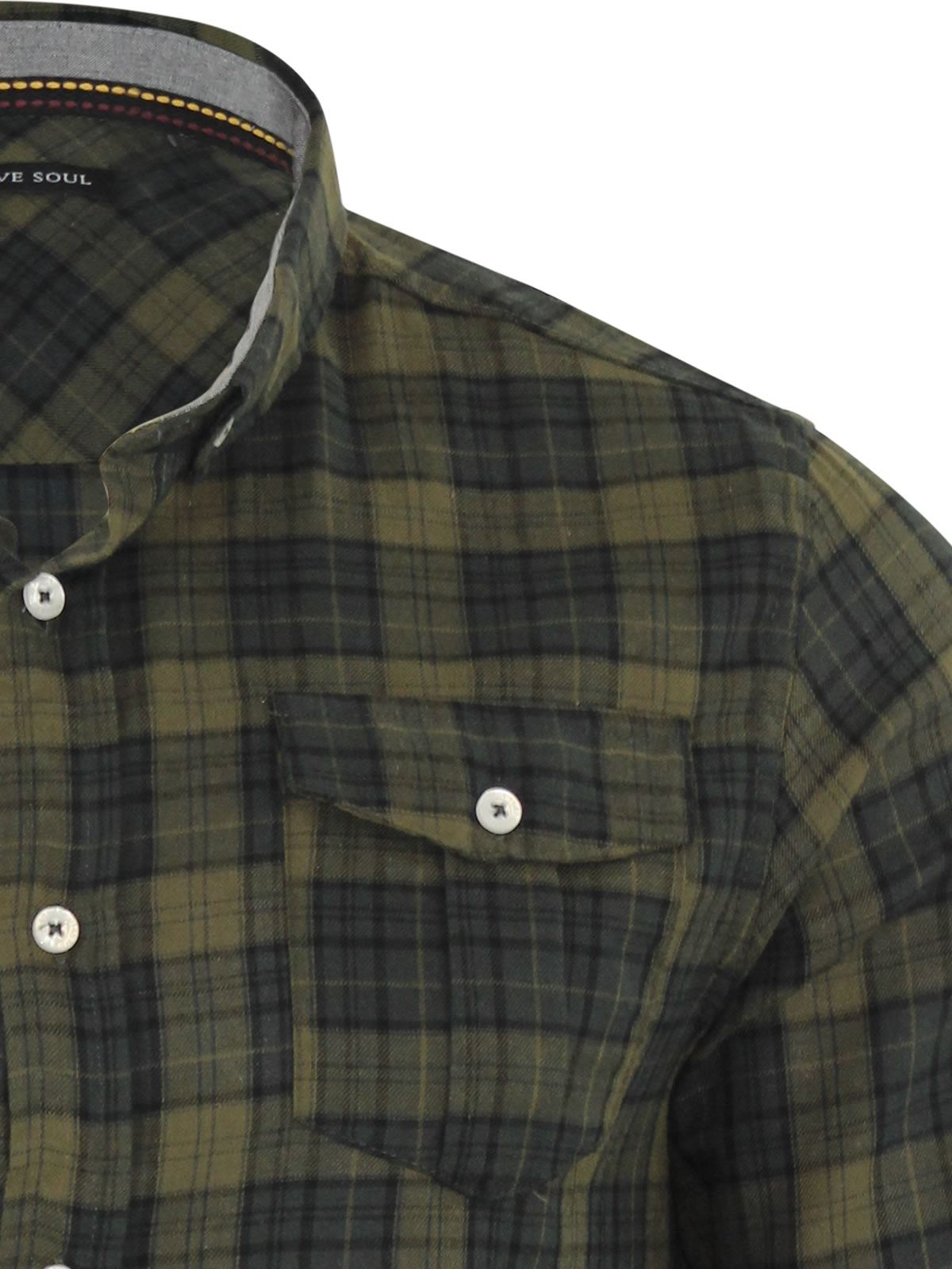 Mens-Check-Shirt-Brave-Soul-Flannel-Brushed-Cotton-Long-Sleeve-Casual-Top thumbnail 67
