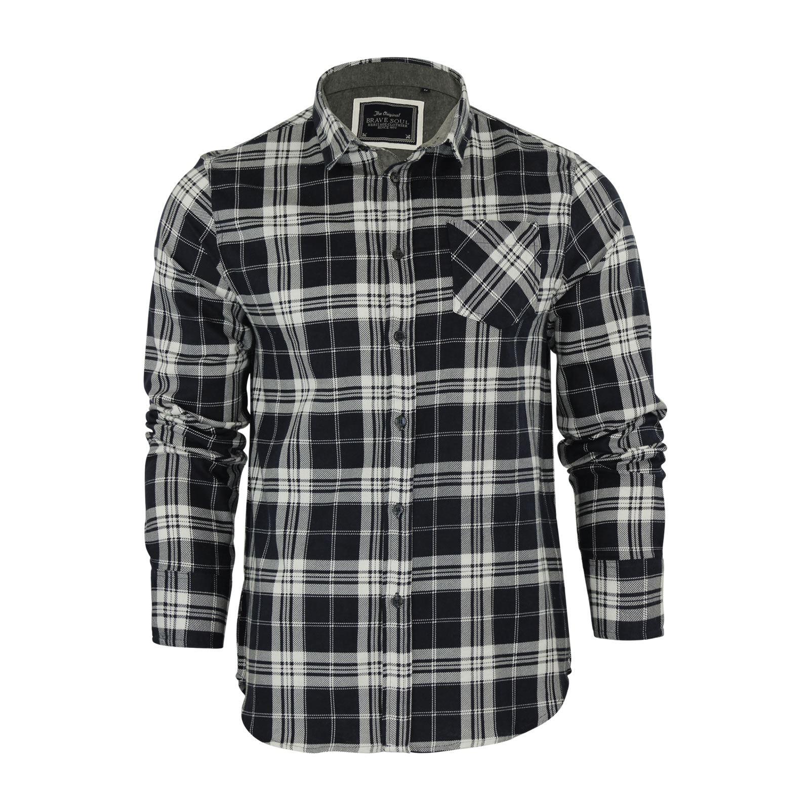 Alma-VALIENTE-HOMBRE-compruebe-Camisa-Algodon-Cepillado-De-Franela-Top-Manga-Larga-Casual miniatura 87