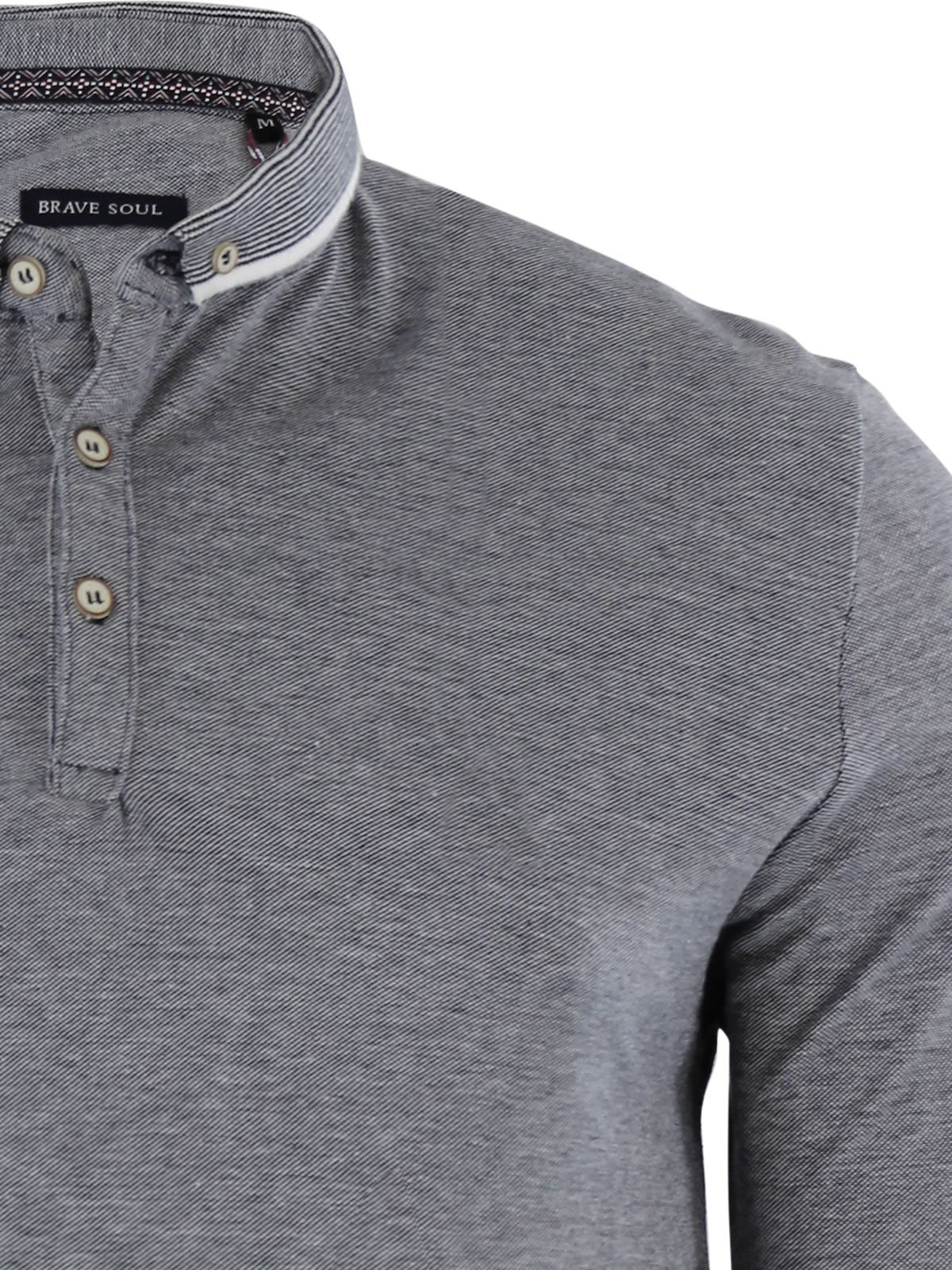 Brave-Soul-Mens-Polo-Shirt-Long-Sleeve-Collared-Top-In-Various-Styles thumbnail 109