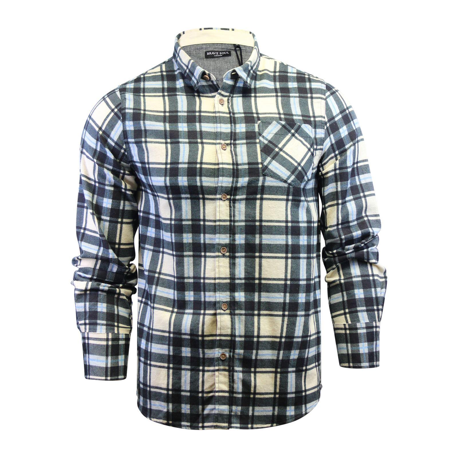Alma-VALIENTE-HOMBRE-compruebe-Camisa-Algodon-Cepillado-De-Franela-Top-Manga-Larga-Casual miniatura 27