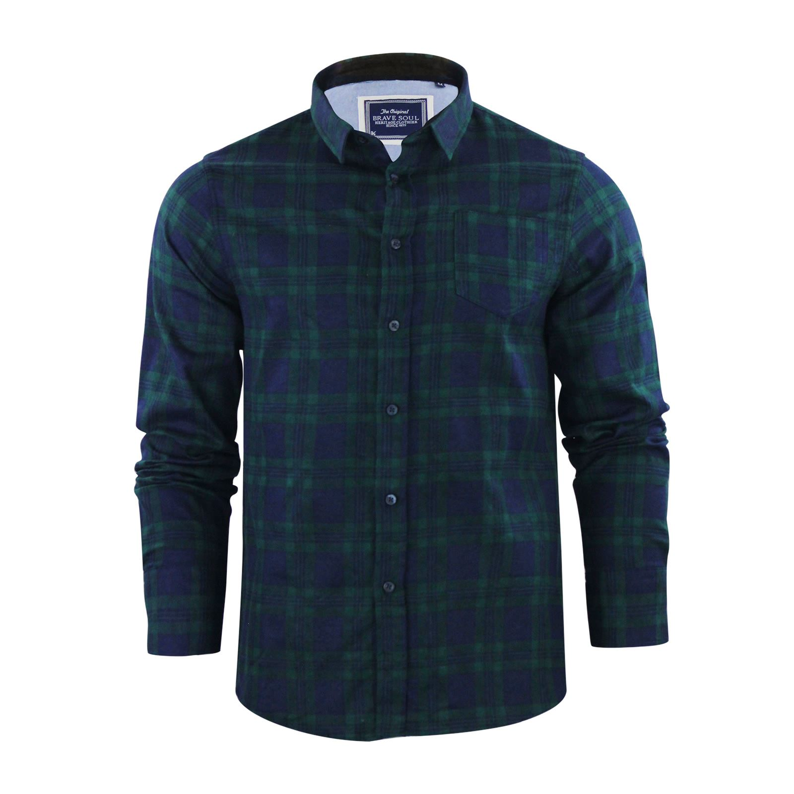 Brave-Soul-Mens-Check-Shirt-Flannel-Brushed-Cotton-Long-Sleeve-Casual-Top thumbnail 73