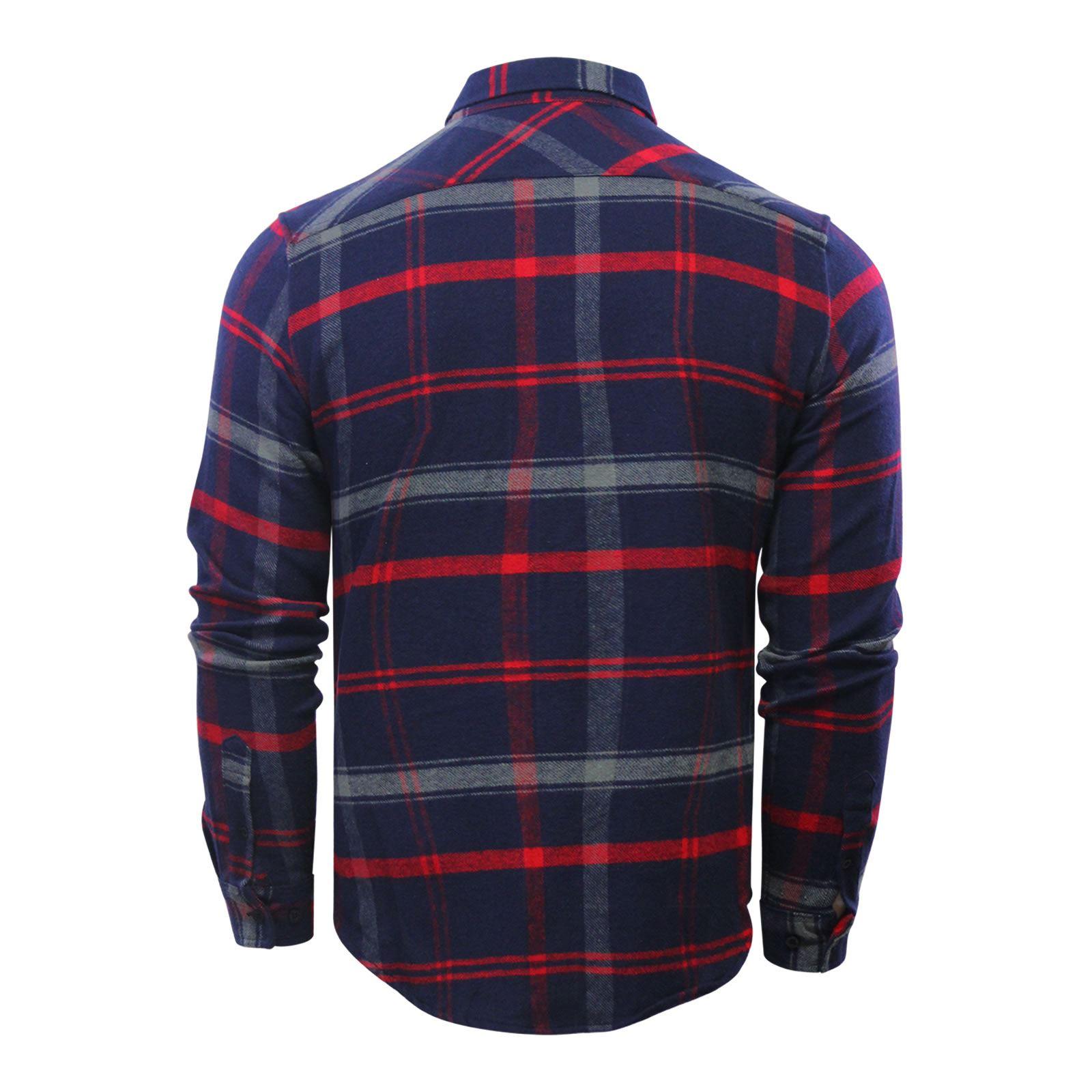 Crosshatch-Fitzroya-Mens-Check-Shirt-Flannel-Brushed-Cotton-Long-Sleeve miniature 3