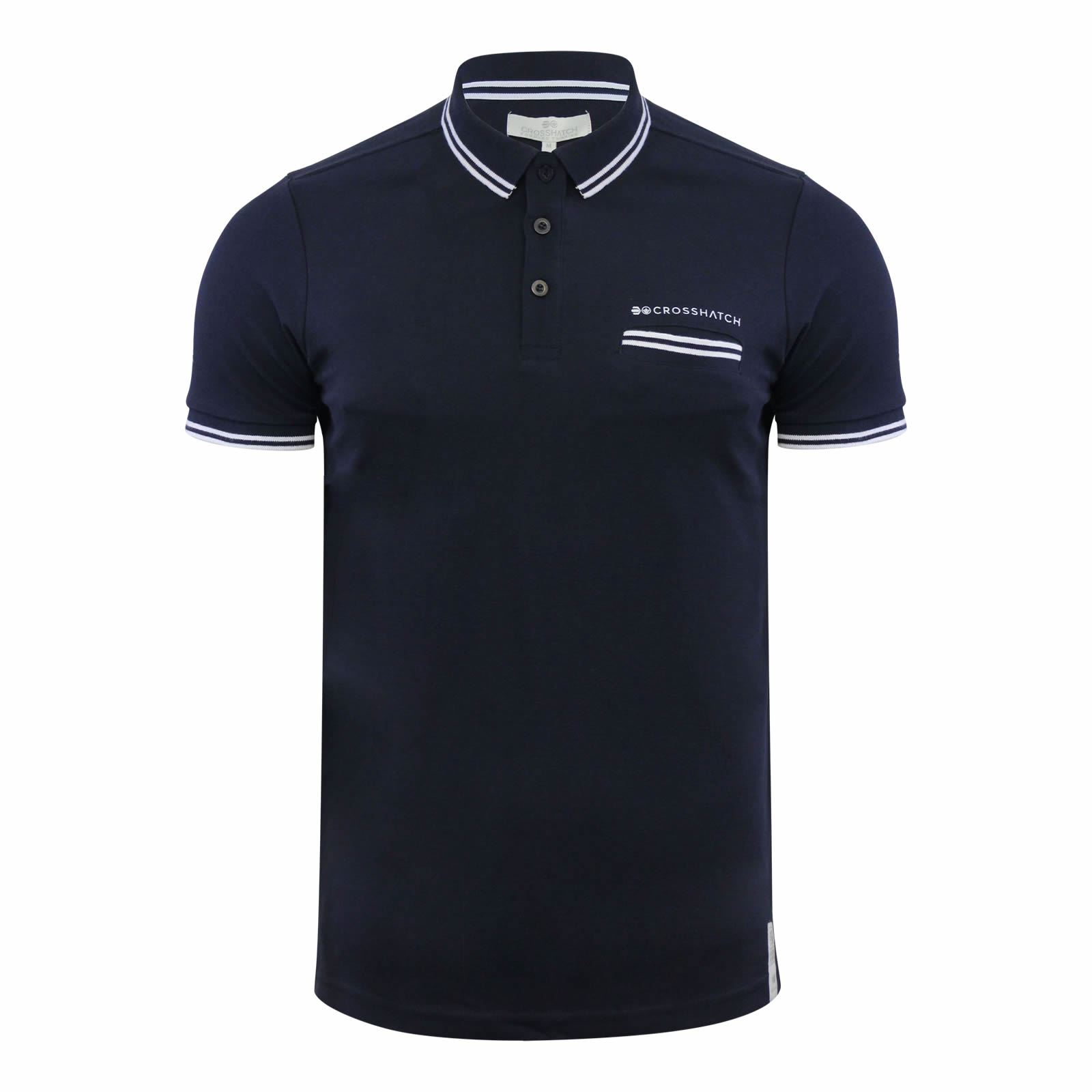 Crosshatch-Mens-Polo-T-Shirt-Pique-Polo-Cotton-Collared-Short-Sleeve-T-Shirt thumbnail 62