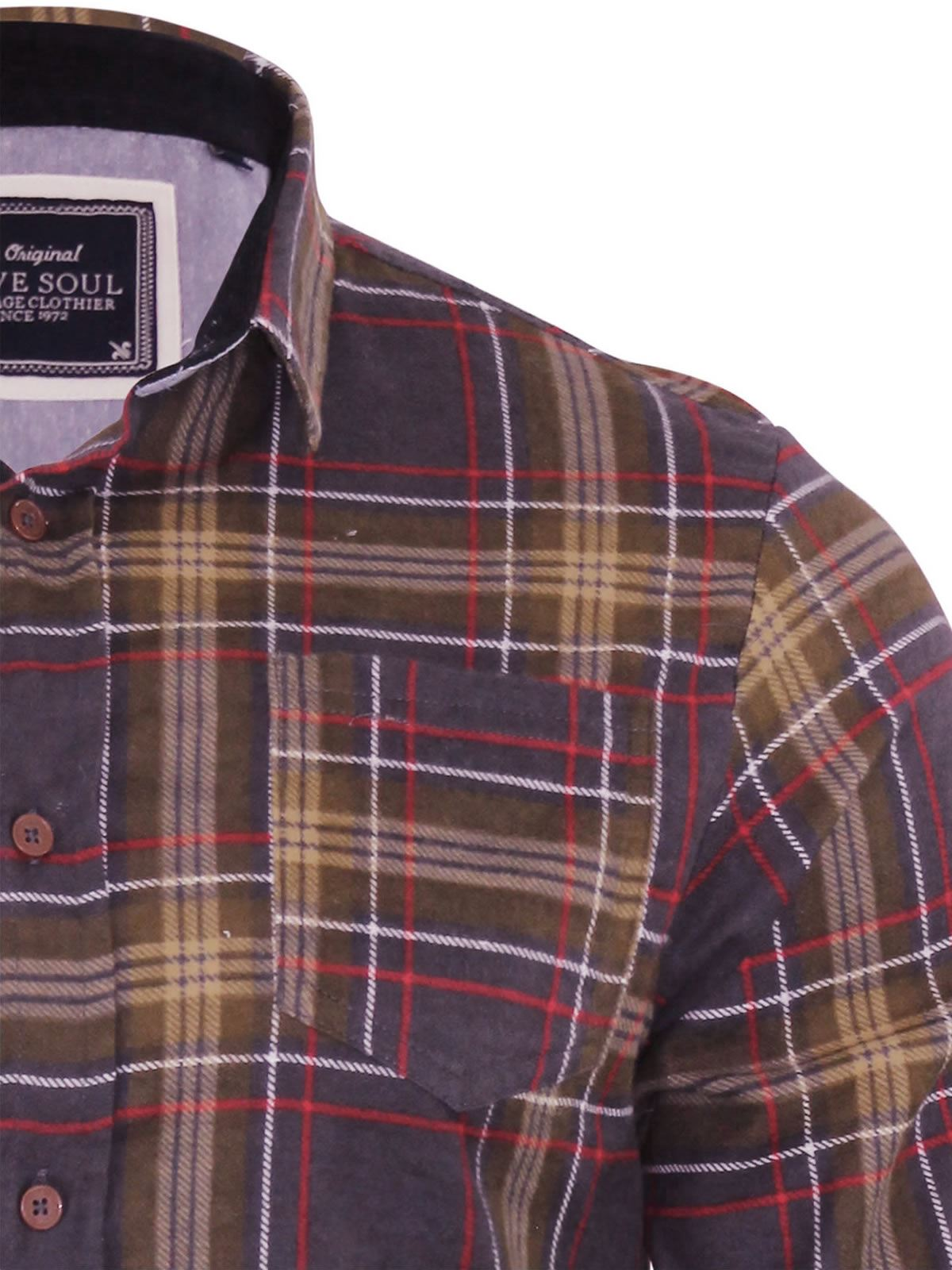 Mens-Check-Shirt-Brave-Soul-Flannel-Brushed-Cotton-Long-Sleeve-Casual-Top thumbnail 10