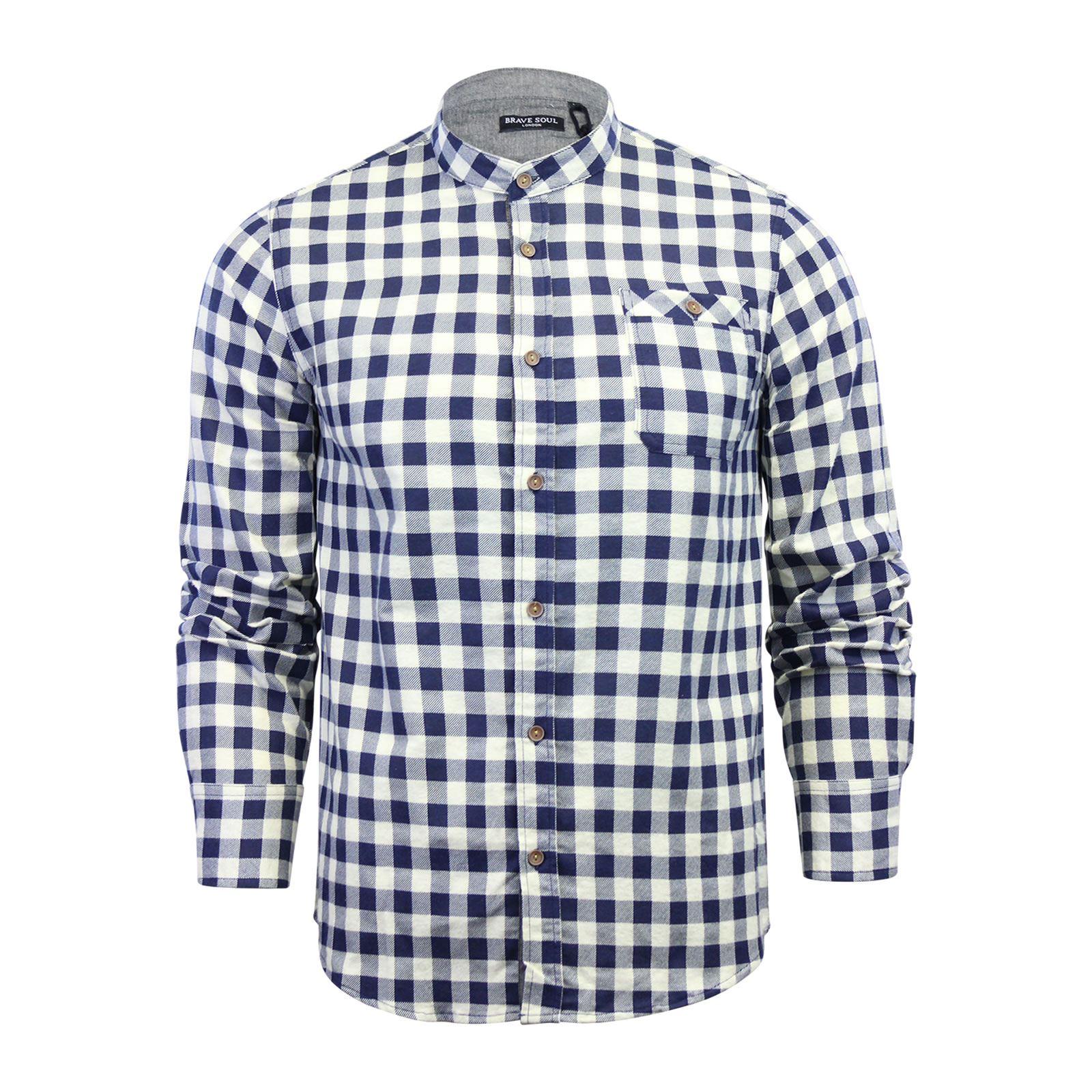 Alma-VALIENTE-HOMBRE-compruebe-Camisa-Algodon-Cepillado-De-Franela-Top-Manga-Larga-Casual miniatura 77