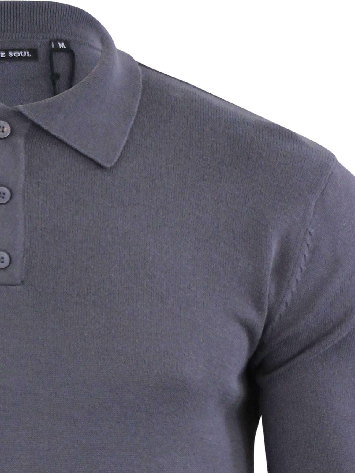 Brave-Soul-Patte-De-Boutonnage-Homme-Tricot-Polo-T-Shirt-a-Col-Pull miniature 13
