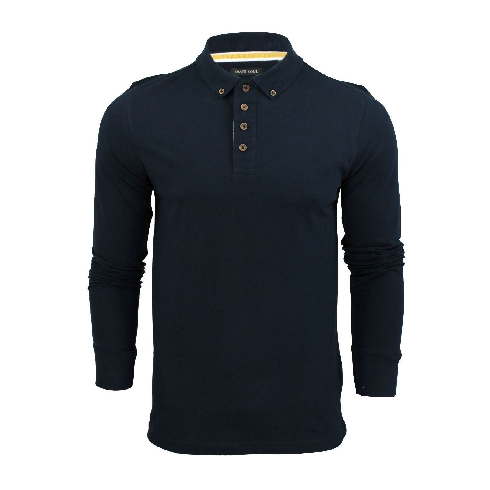 Brave-Soul-Lincoln-Homme-Polo-Shirt-a-Manches-Longues-En-Coton-Pique-Top-Casual miniature 26