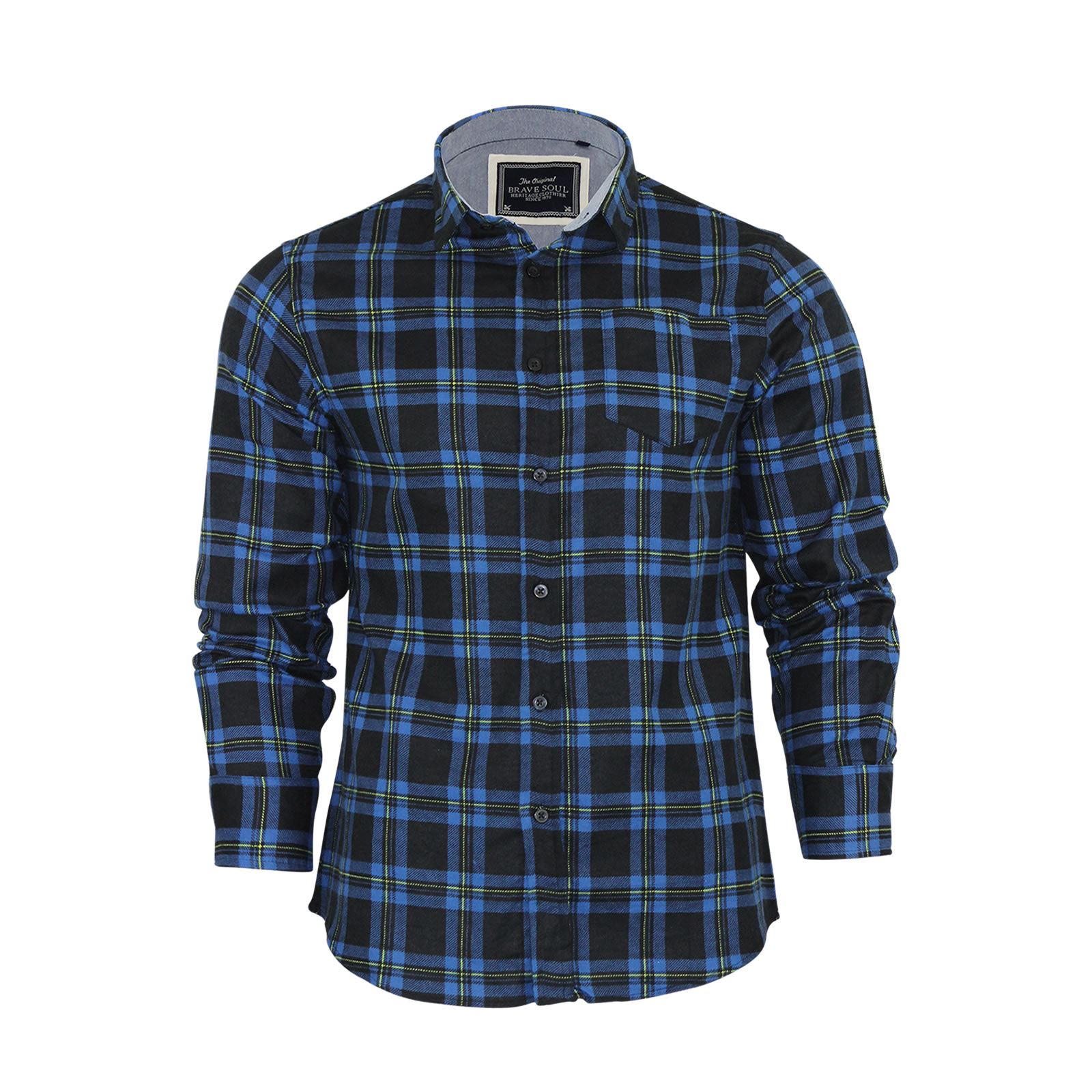 Brave-Soul-Mens-Check-Shirt-Flannel-Brushed-Cotton-Long-Sleeve-Casual-Top thumbnail 18