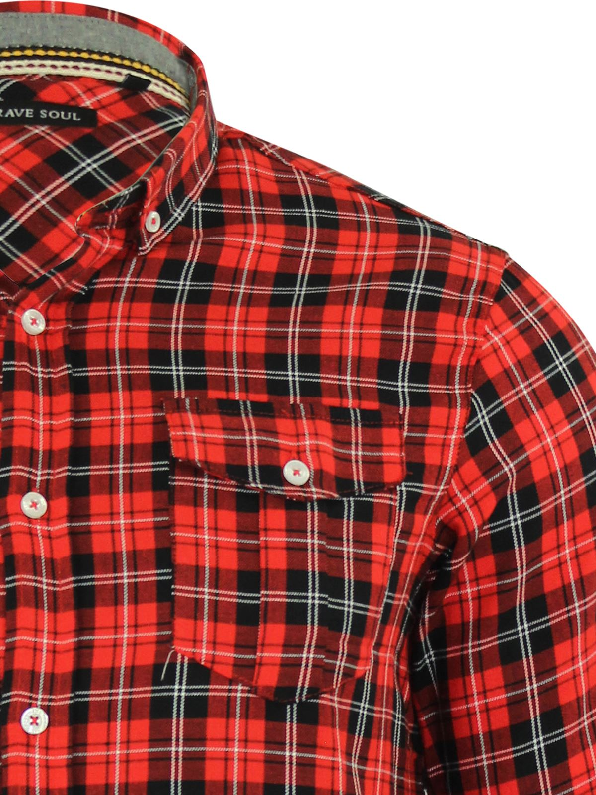 Mens-Check-Shirt-Brave-Soul-Flannel-Brushed-Cotton-Long-Sleeve-Casual-Top thumbnail 61