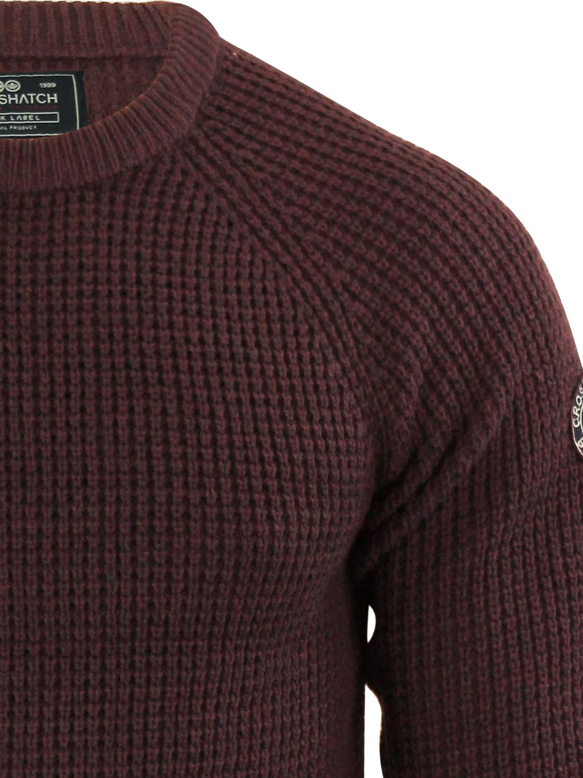 Mens-Jumper-Crosshatch-General-Waffle-Knitted-Crew-Neck-Wool-Mix-Sweater thumbnail 4