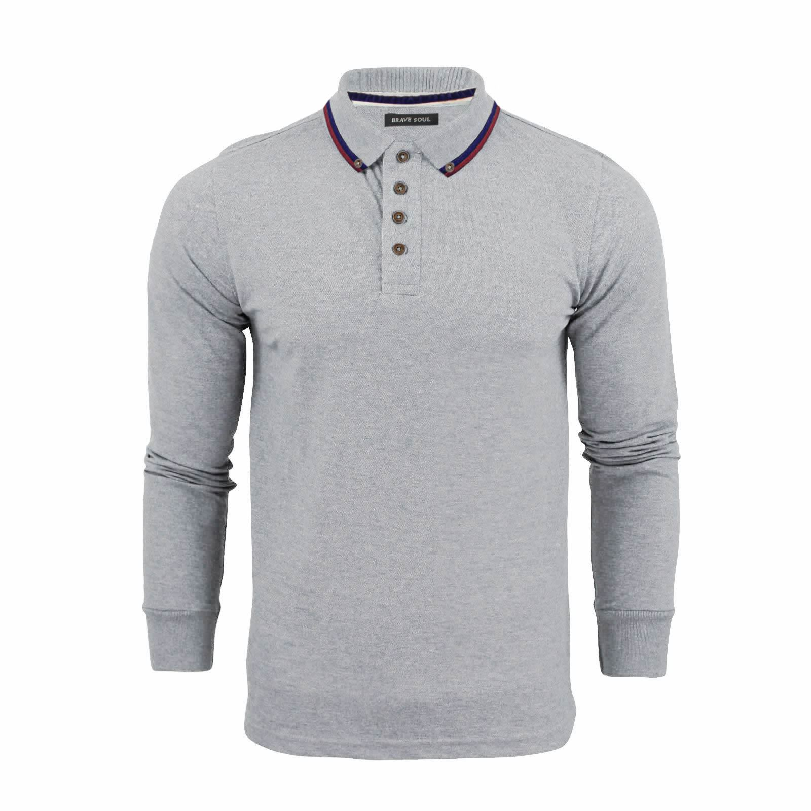 Brave-Soul-Lincoln-Homme-Polo-Shirt-a-Manches-Longues-En-Coton-Pique-Top-Casual miniature 7