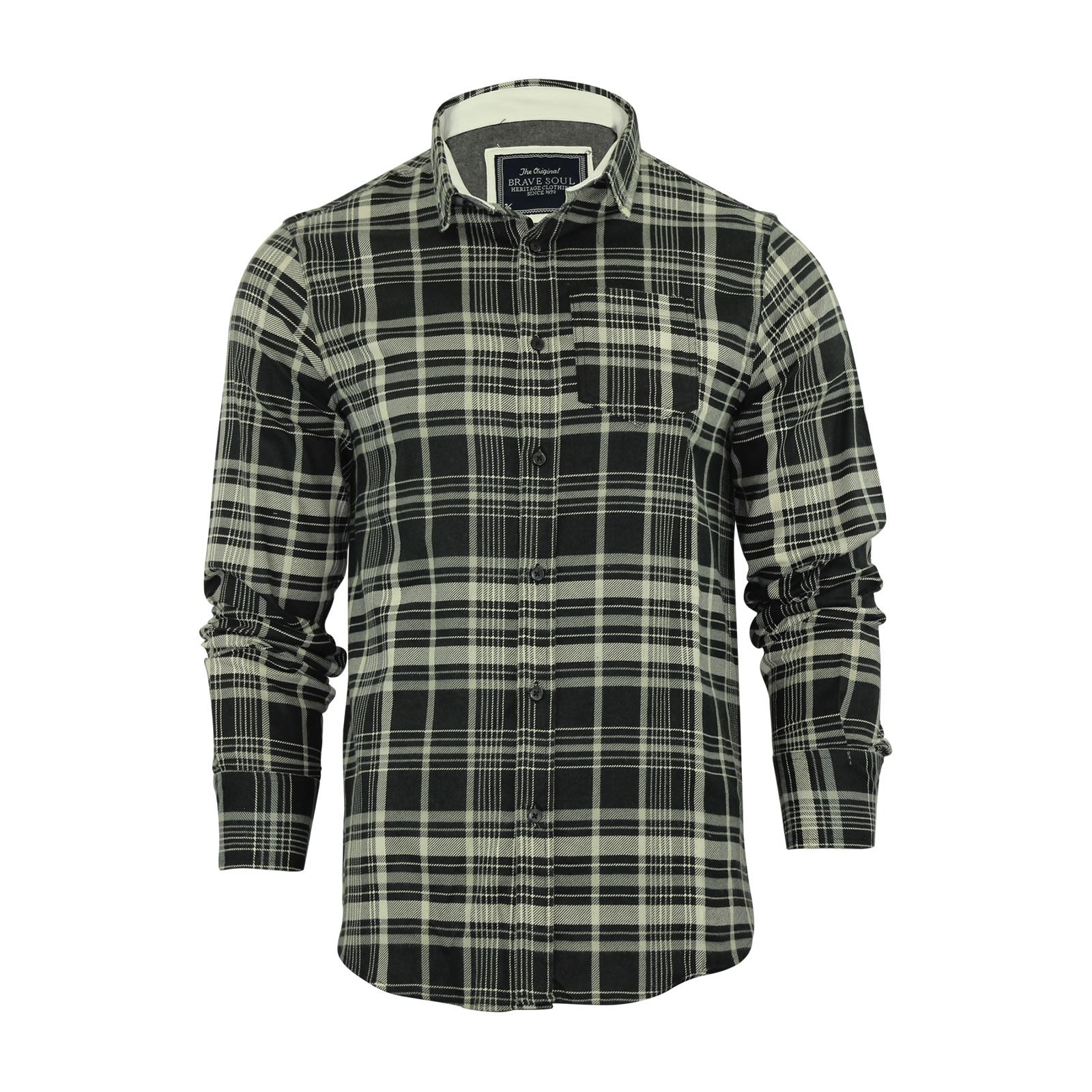 Brave-Soul-Mens-Check-Shirt-Flannel-Brushed-Cotton-Long-Sleeve-Casual-Top thumbnail 91