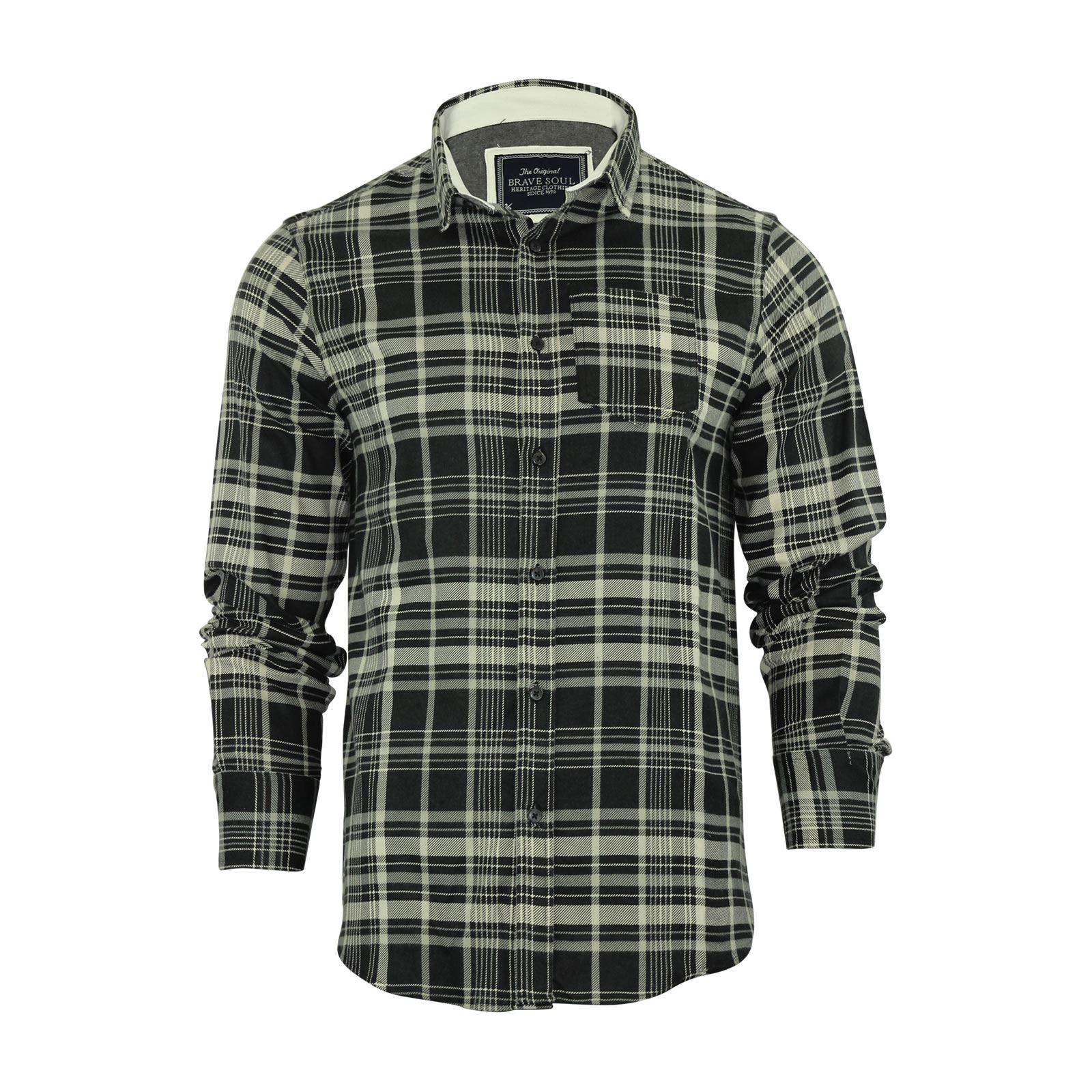 Alma-VALIENTE-HOMBRE-compruebe-Camisa-Algodon-Cepillado-De-Franela-Top-Manga-Larga-Casual miniatura 91