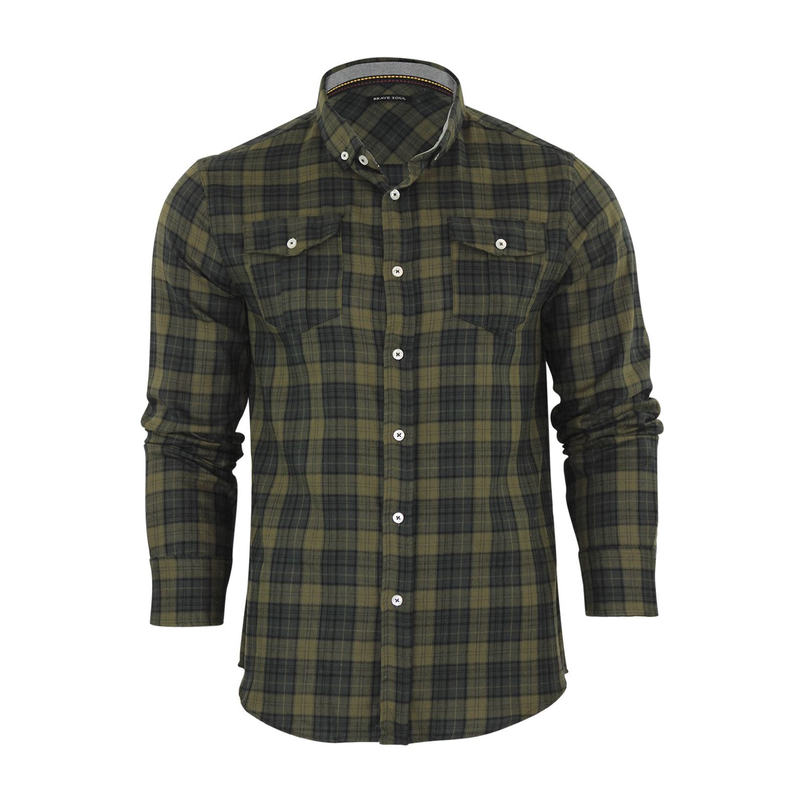Brave-Soul-Mens-Check-Shirt-Flannel-Brushed-Cotton-Long-Sleeve-Casual-Top thumbnail 65