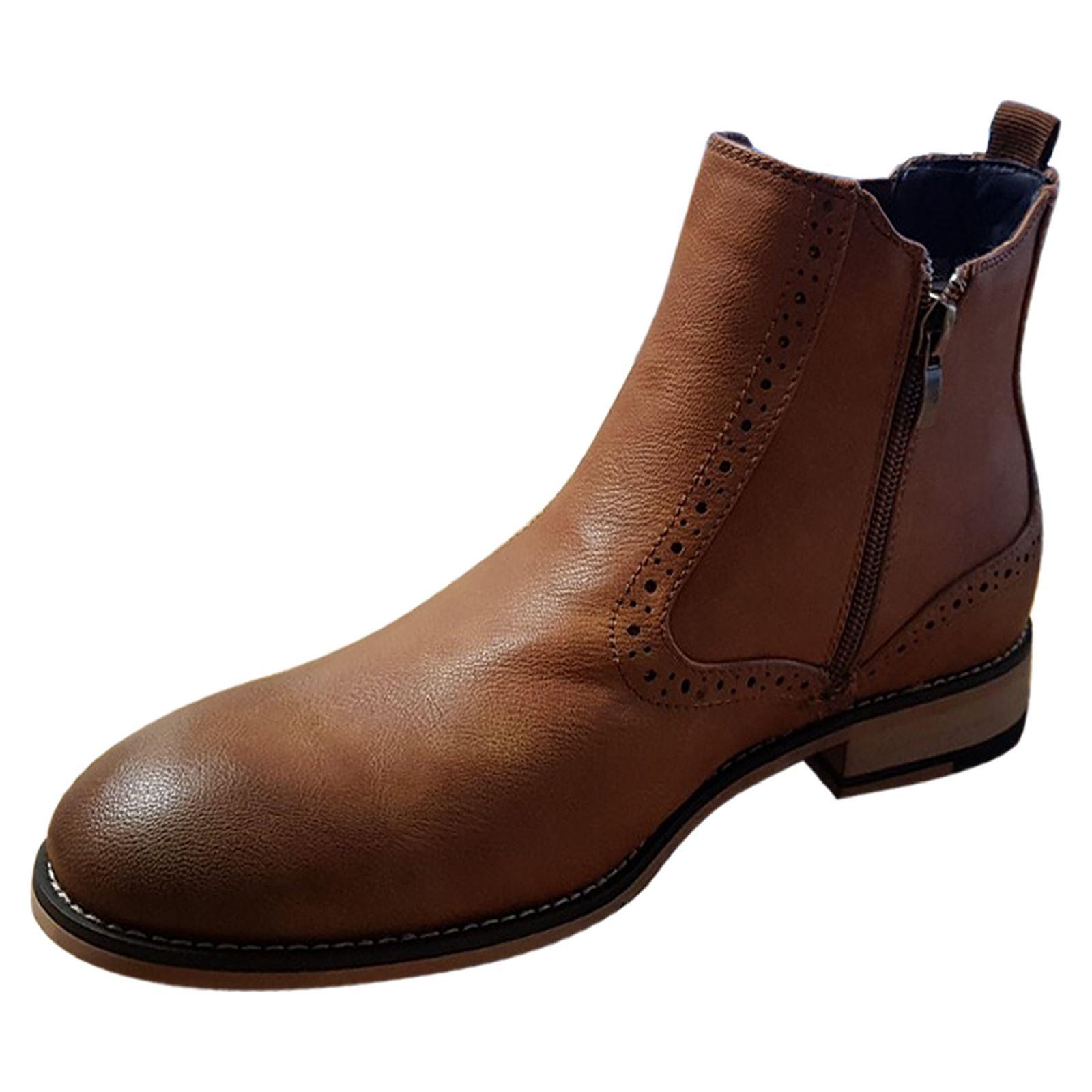 miniature 7 - Homme-Bottines-Chelsea-CAVANI-Fox-Aspect-Cuir-Slip-On-Classic-Mod-Chaussures