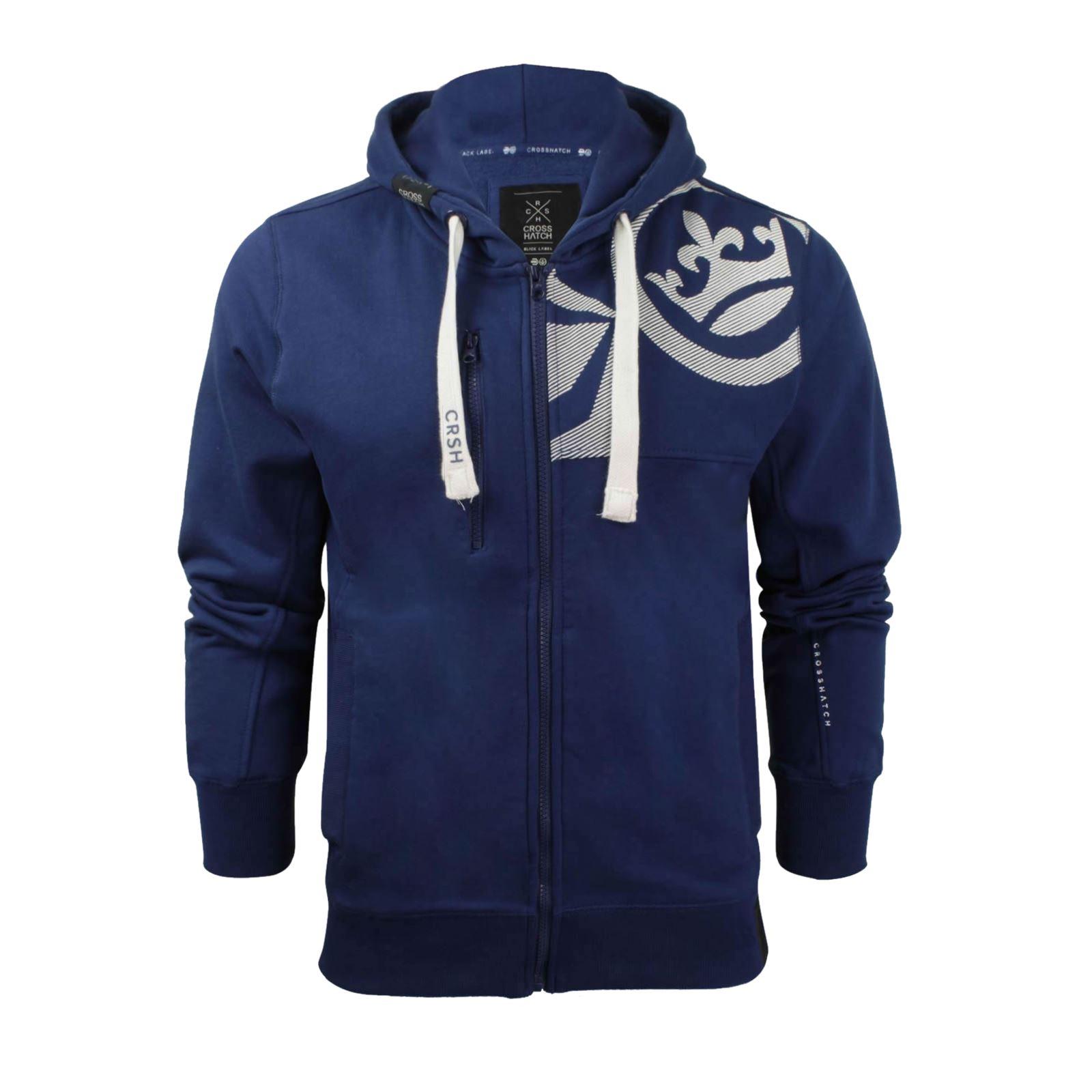 Mens-Hoodie-Crosshatch-Ribbler-Zip-Up-Hooded-Jacket-Pullover-Jumper-Sweatershirt thumbnail 26