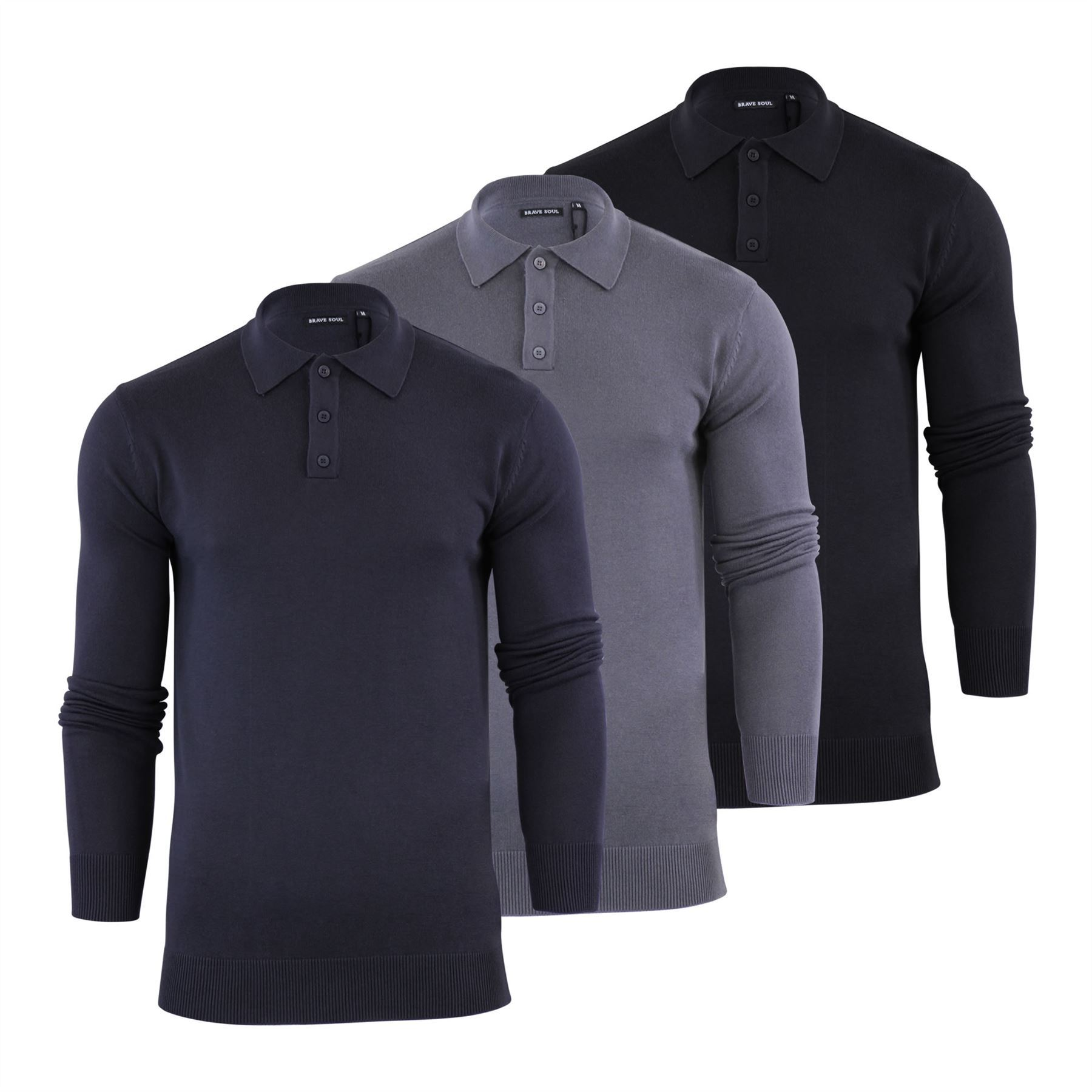 Brave Soul Placket Mens Knitted Polo T Shirt Collared Jumper  9962bdcd7447