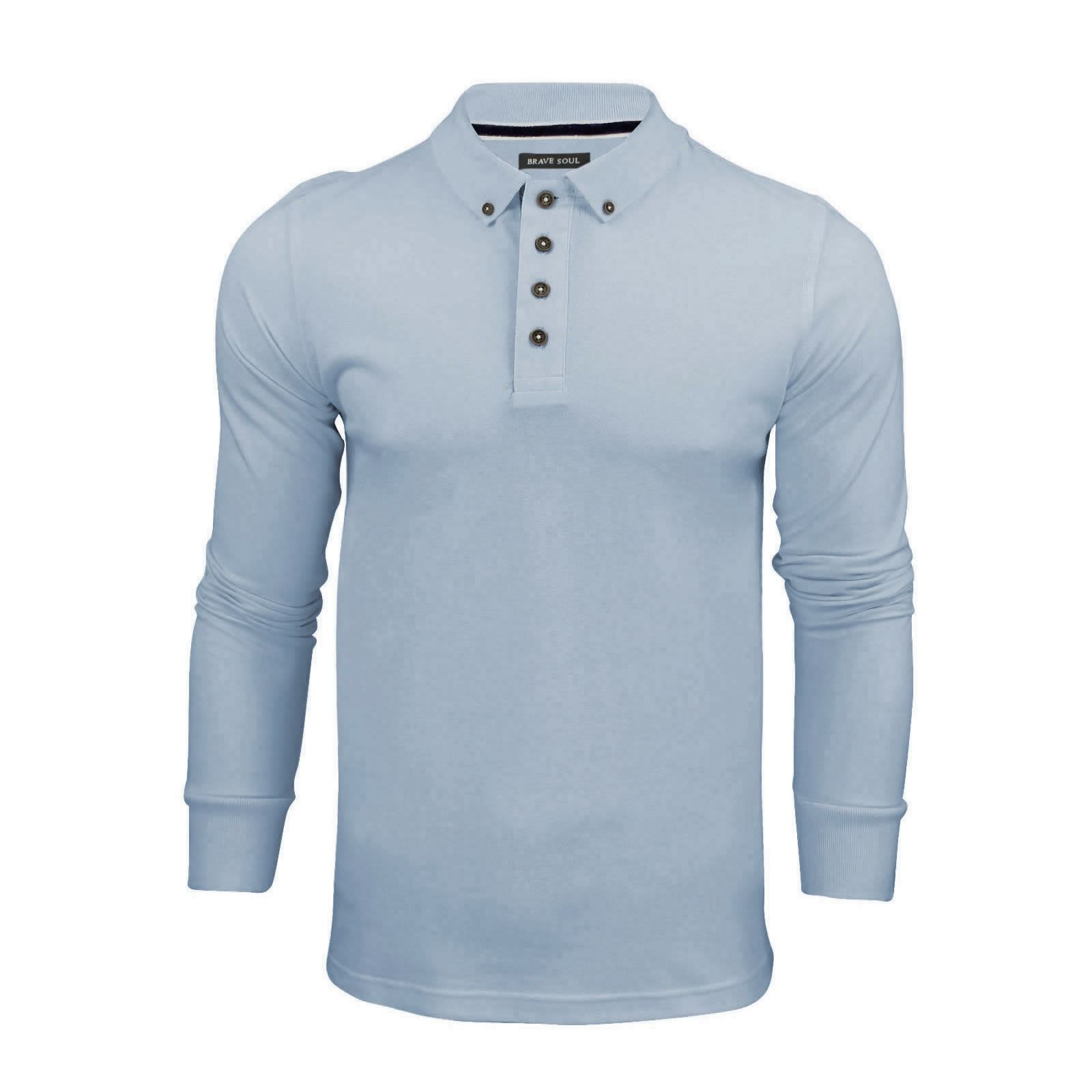 Brave-Soul-Lincoln-Homme-Polo-Shirt-a-Manches-Longues-En-Coton-Pique-Top-Casual miniature 42