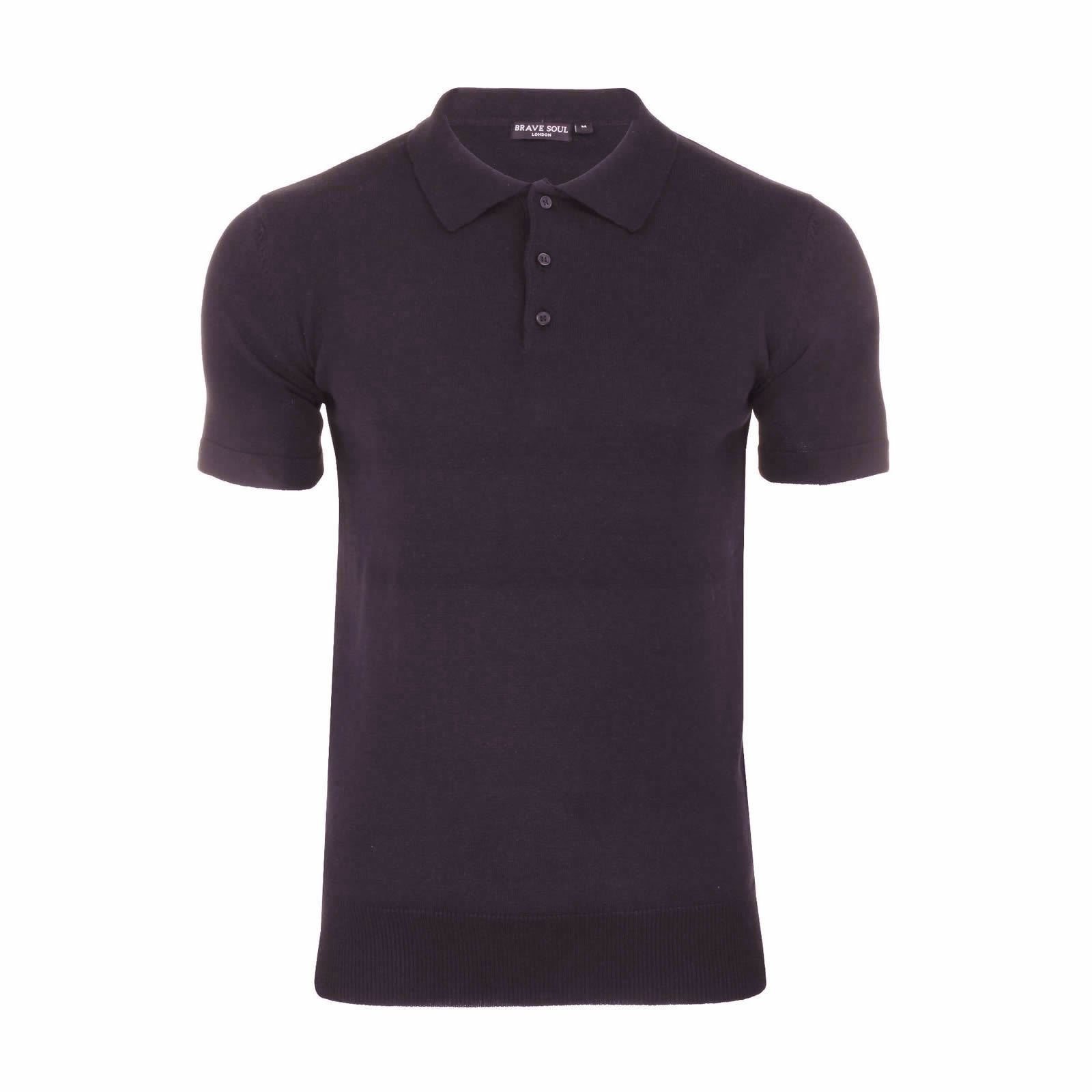 Homme-Tricot-Polo-Brave-Soul-Columbus-a-col-manches-courtes-Pull-T-Shirt miniature 14