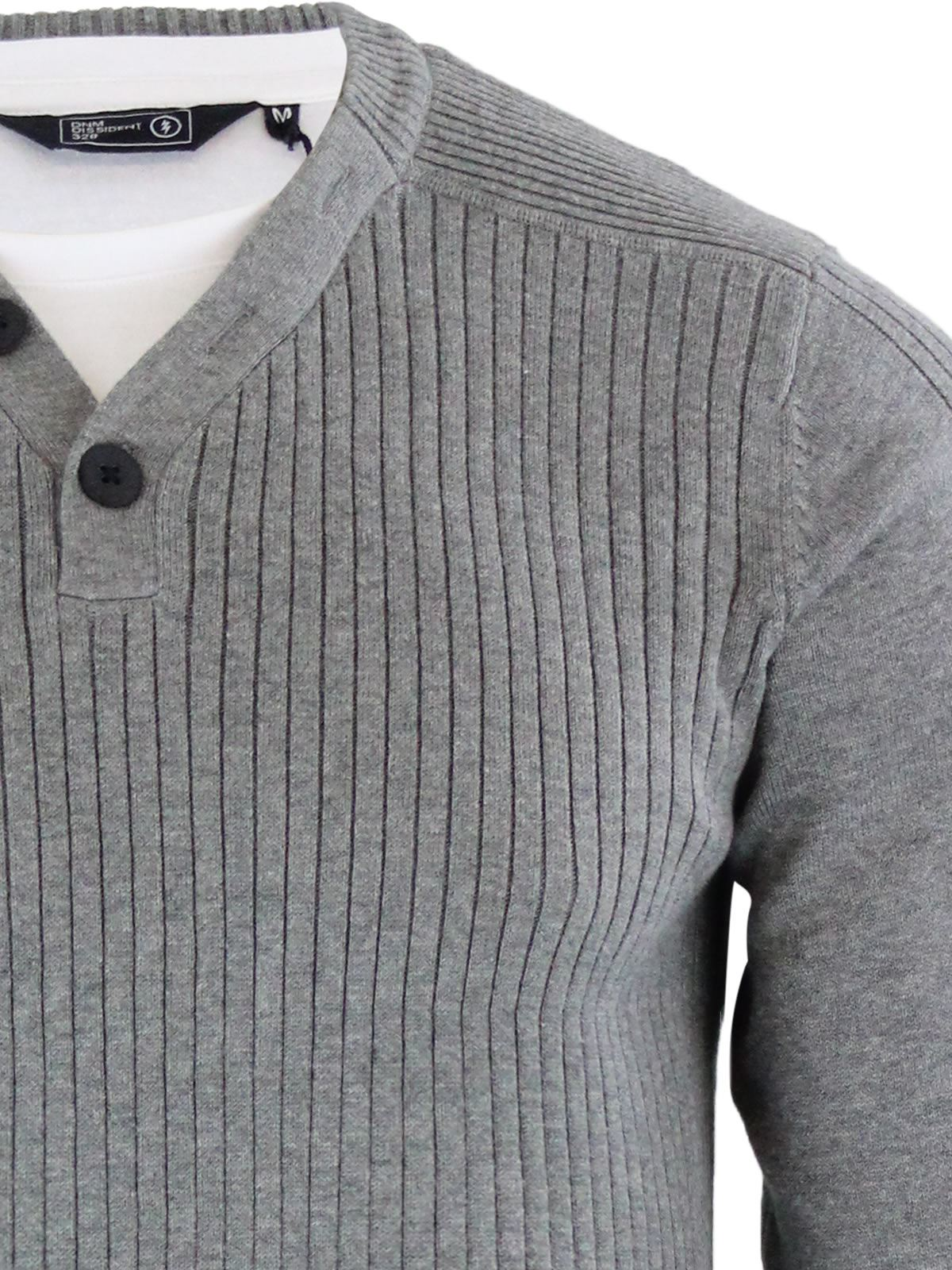 Mens Jumper Dissident Barnes Y-Neck Mock Inner Pull Over Sweater
