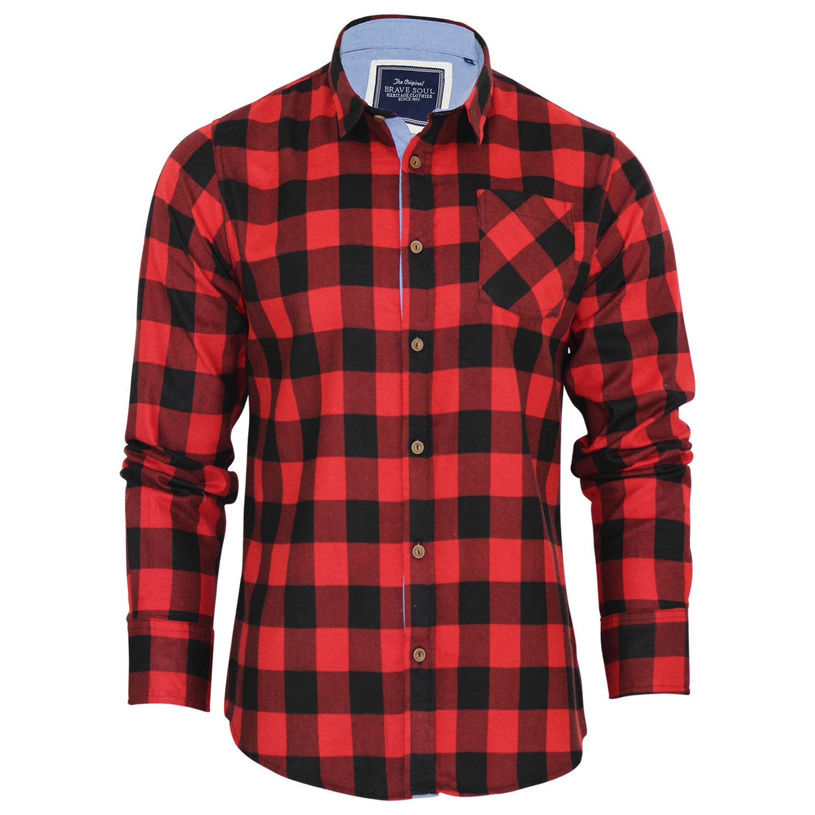 Brave-Soul-Mens-Check-Shirt-Flannel-Brushed-Cotton-Long-Sleeve-Casual-Top thumbnail 43
