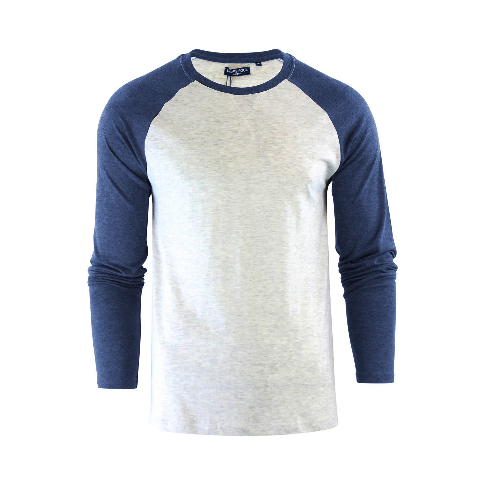 Brave-Soul-Prague-Mens-T-Shirt-by-Cotton-Long-Sleeved-Crew-Neck-Casual-Top thumbnail 49