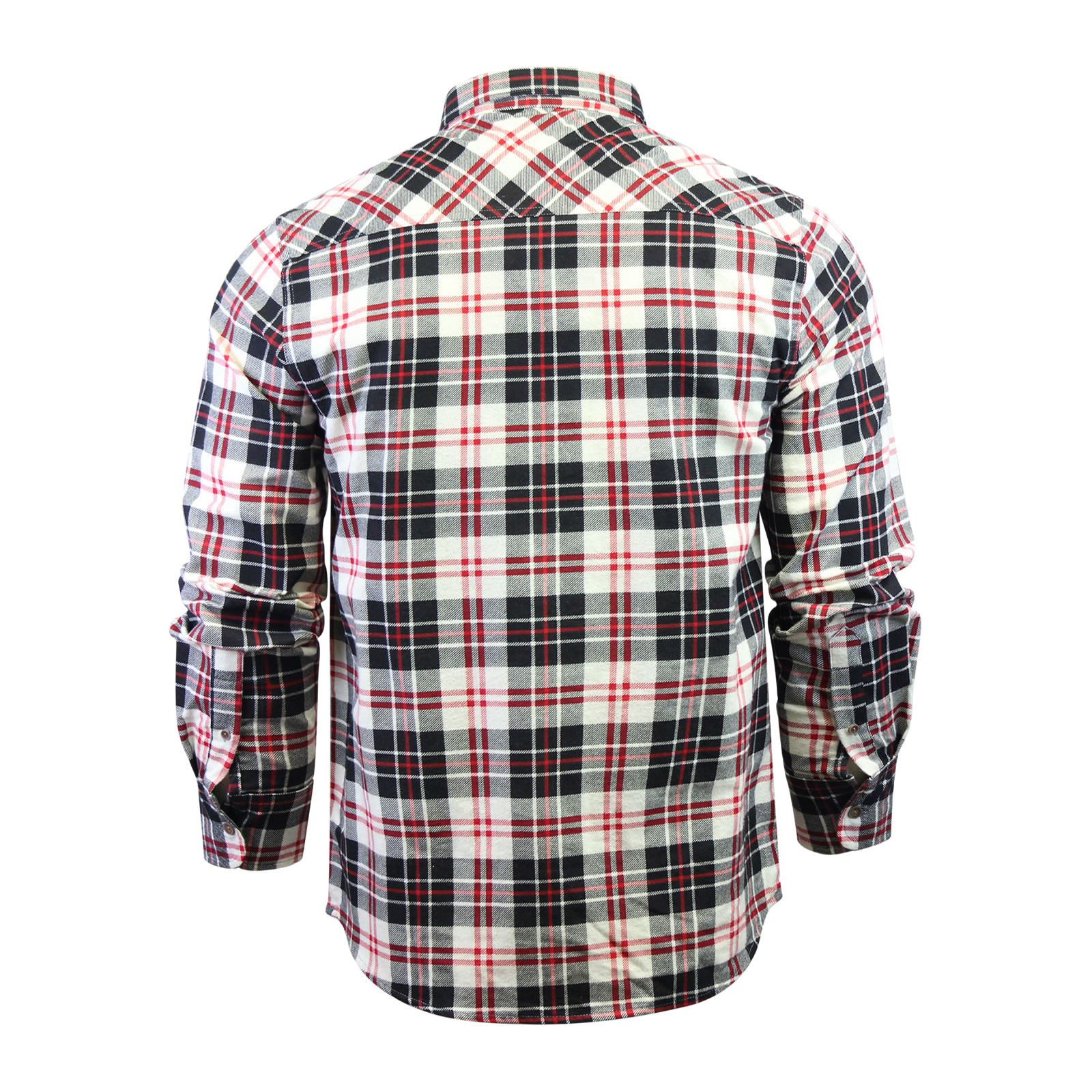 Mens-Check-Shirt-Brave-Soul-Flannel-Brushed-Cotton-Long-Sleeve-Casual-Top thumbnail 93