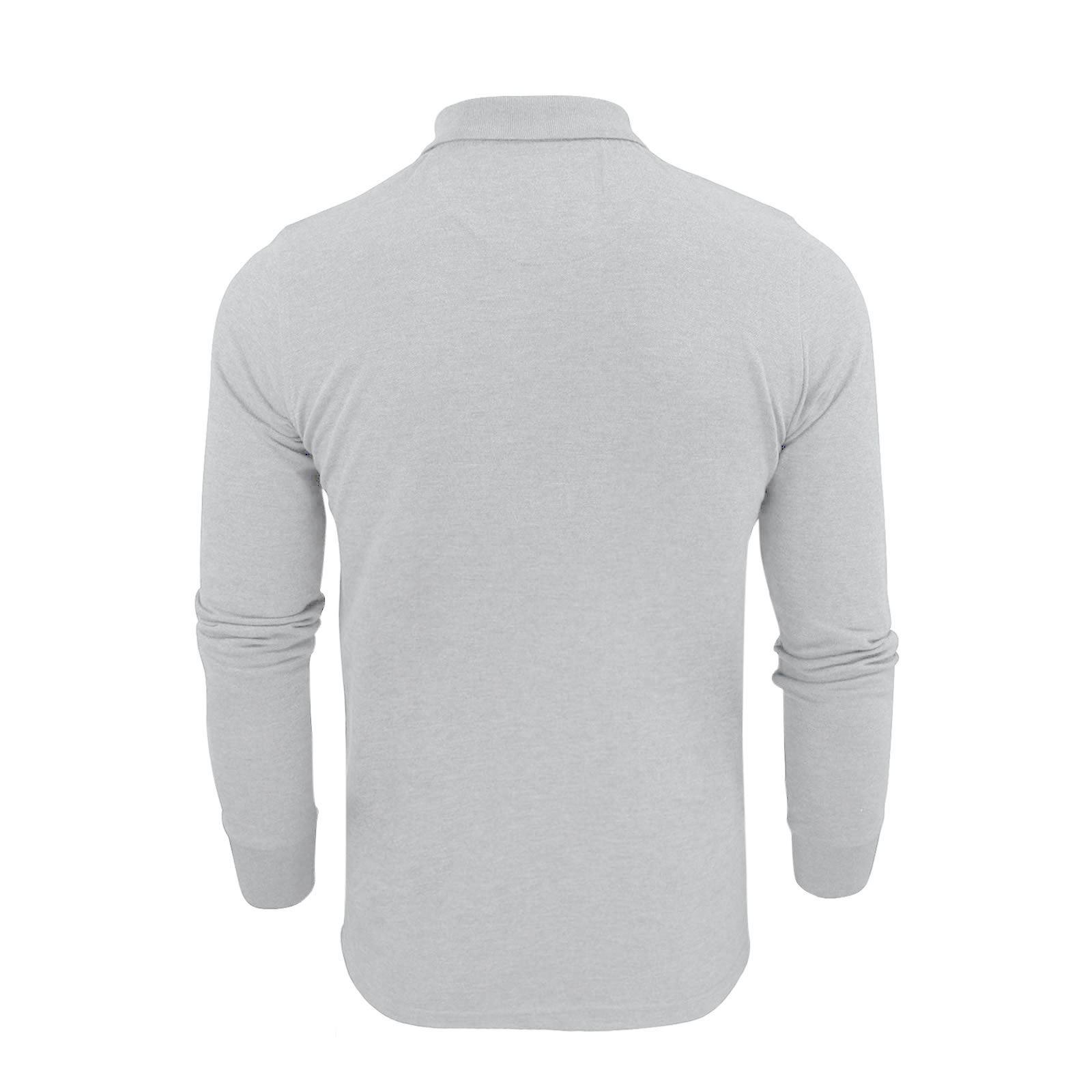 Homme-polo-t-shirt-brave-soul-lincoln-en-coton-a-manches-longues-pique-haut-decontracte miniature 17
