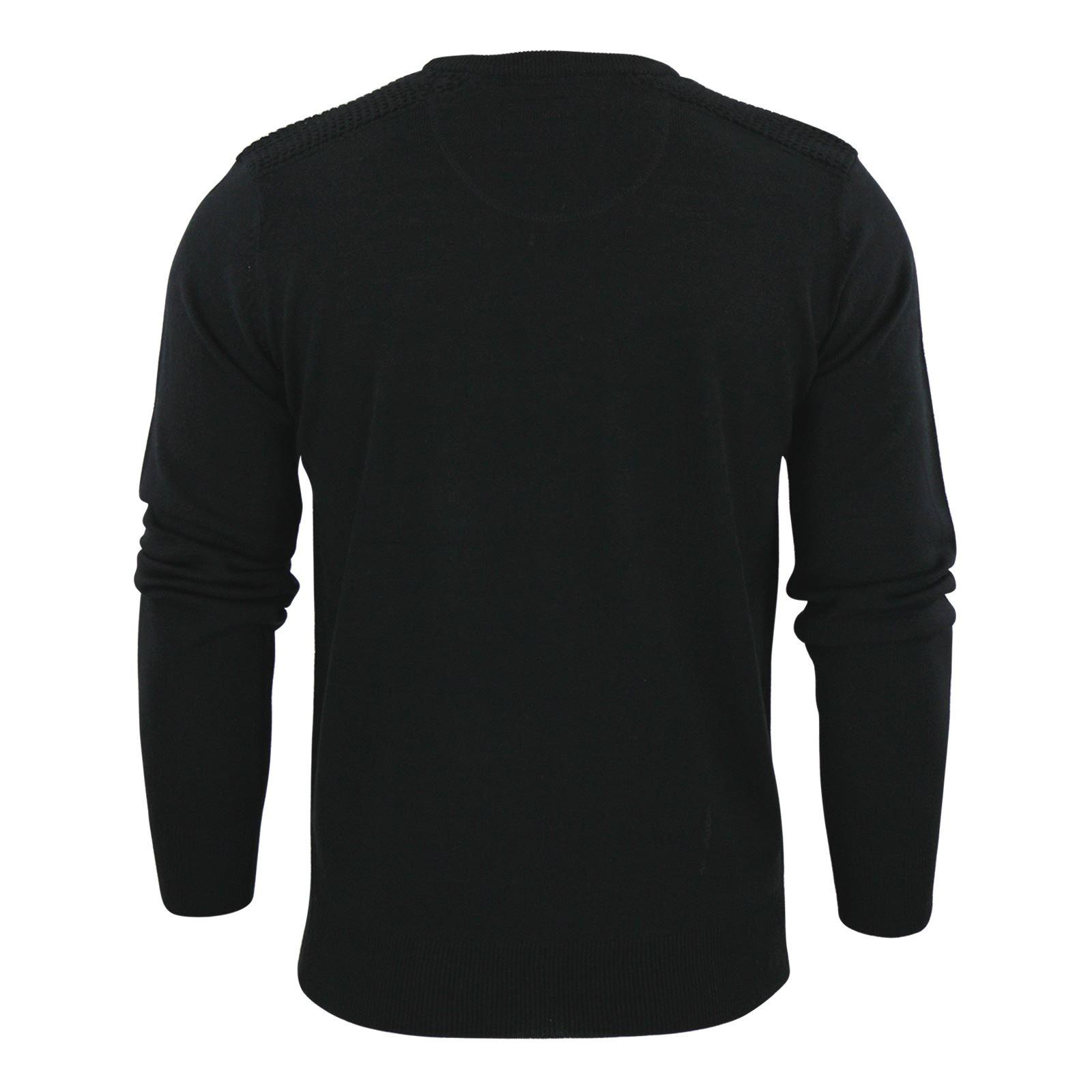 Brave-Soul-Luna-Mens-Jumper-Crew-Neck-Sweater-With-Shoulder-Detailing miniature 3