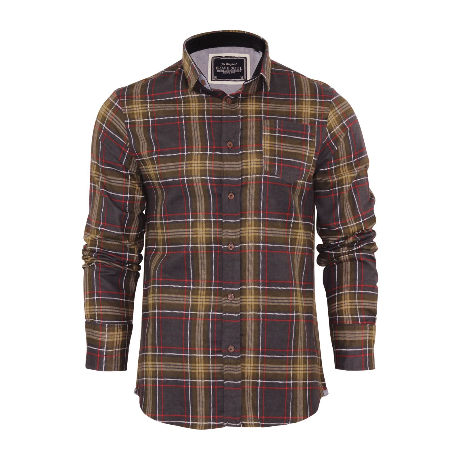 Brave-Soul-Mens-Check-Shirt-Flannel-Brushed-Cotton-Long-Sleeve-Casual-Top thumbnail 23