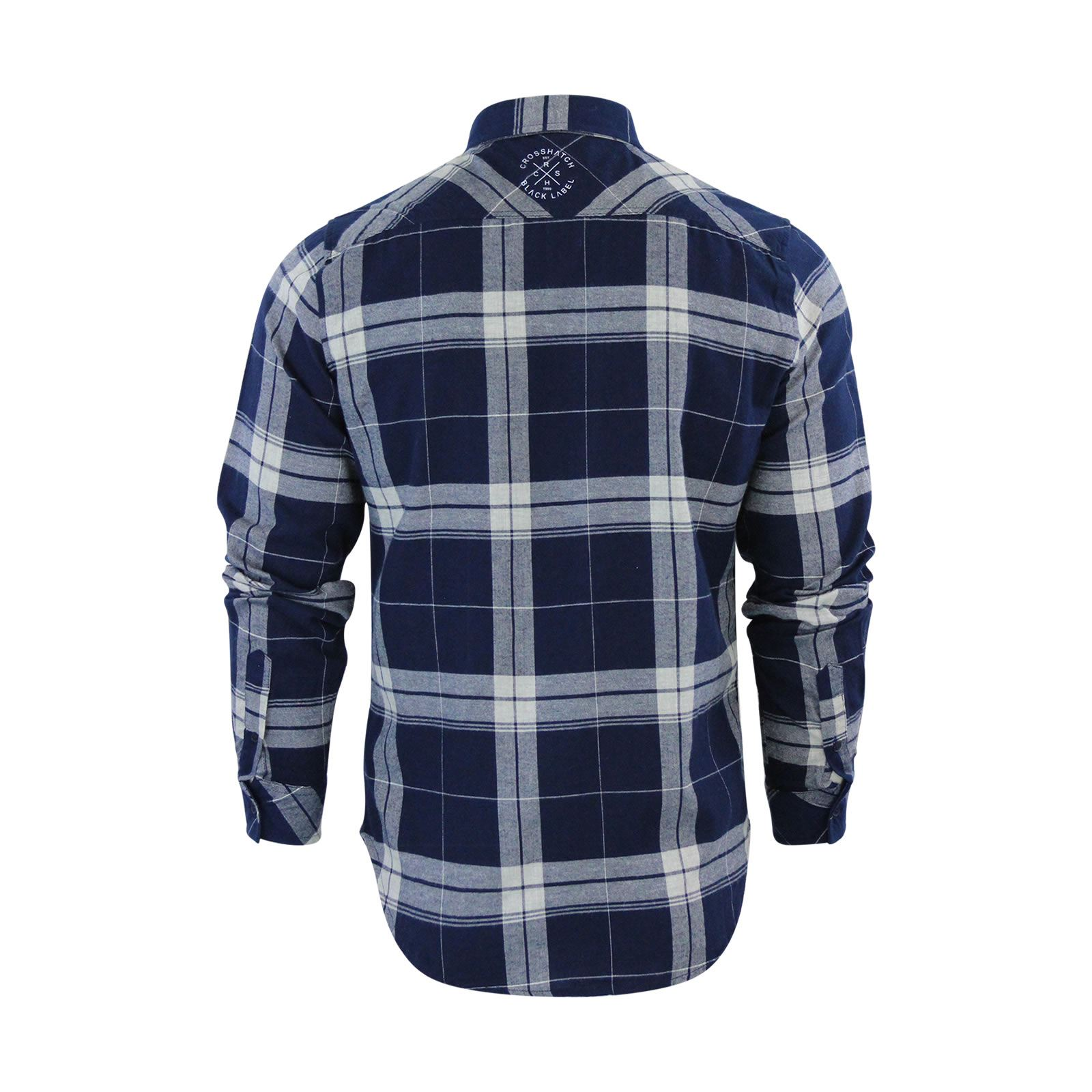 Crosshatch-Mitty-Homme-Chemise-a-carreaux-coton-a-col-a-manches-longues-Top-Casual miniature 6
