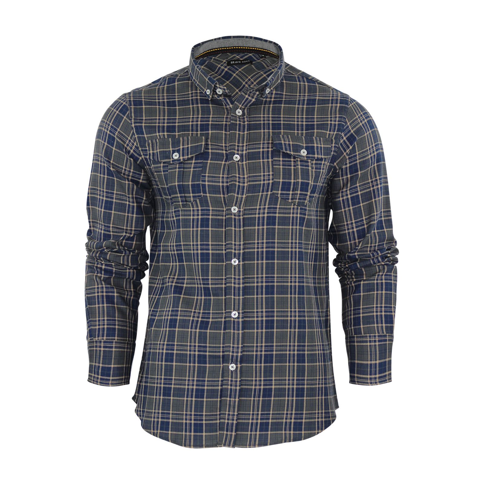 Alma-VALIENTE-HOMBRE-compruebe-Camisa-Algodon-Cepillado-De-Franela-Top-Manga-Larga-Casual miniatura 67