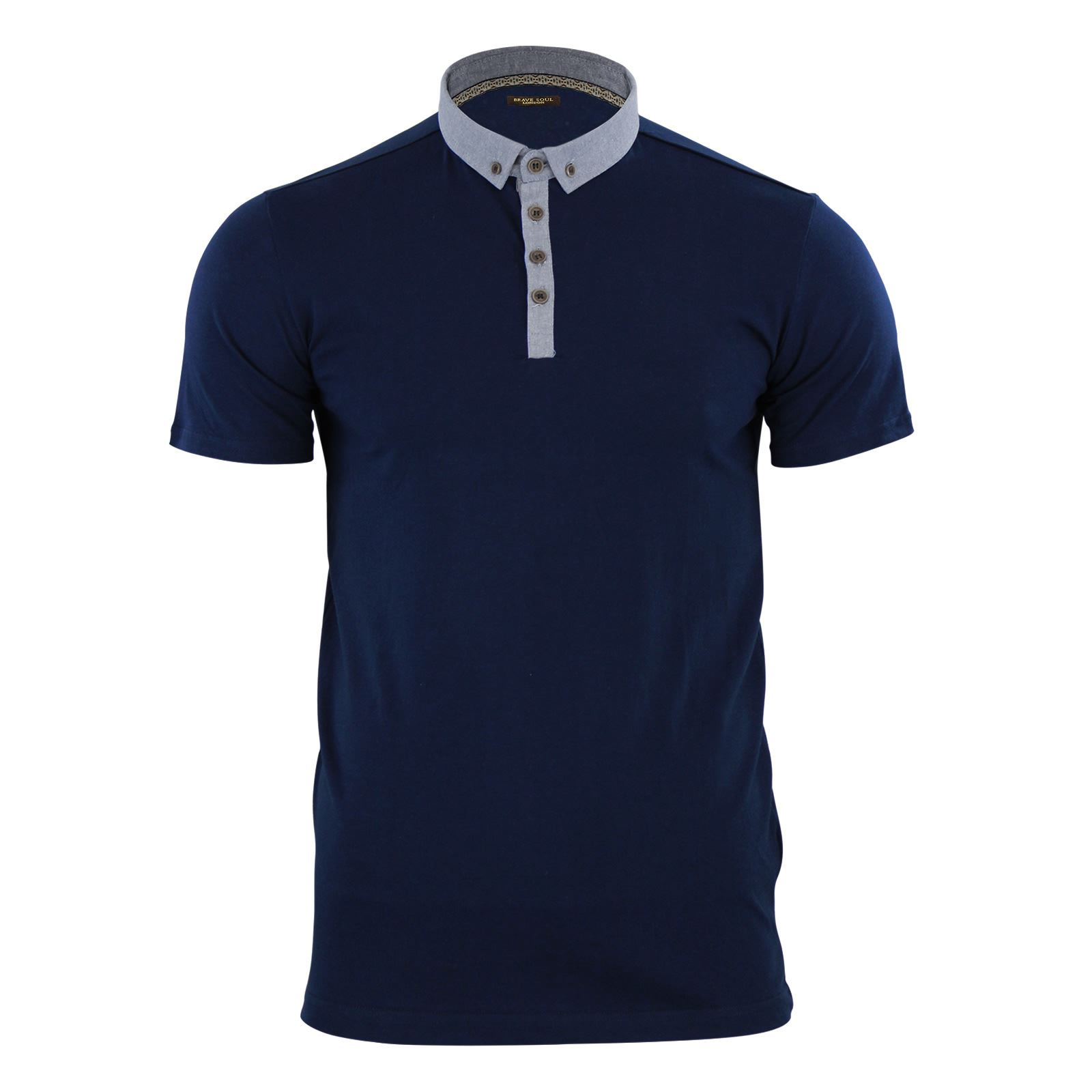 Mens polo t shirt brave soul glover cotton collared short for Men s dobby shirt