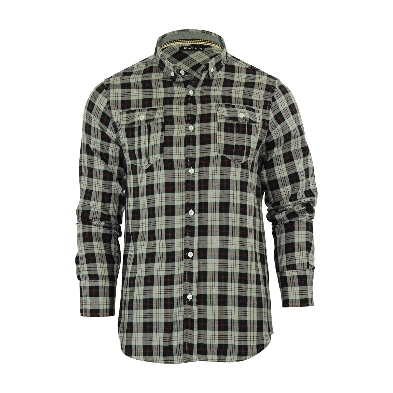 Brave-Soul-Mens-Check-Shirt-Flannel-Brushed-Cotton-Long-Sleeve-Casual-Top thumbnail 14