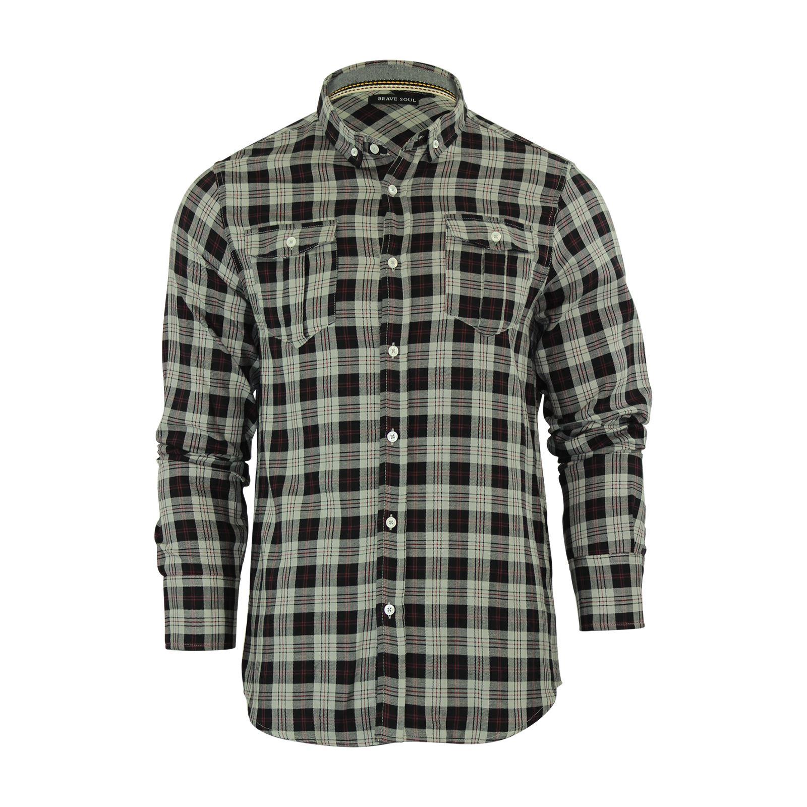 Alma-VALIENTE-HOMBRE-compruebe-Camisa-Algodon-Cepillado-De-Franela-Top-Manga-Larga-Casual miniatura 14