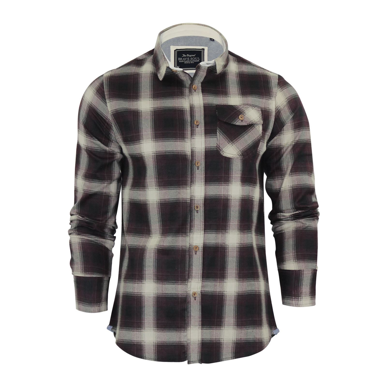 Brave-Soul-Mens-Check-Shirt-Flannel-Brushed-Cotton-Long-Sleeve-Casual-Top thumbnail 41
