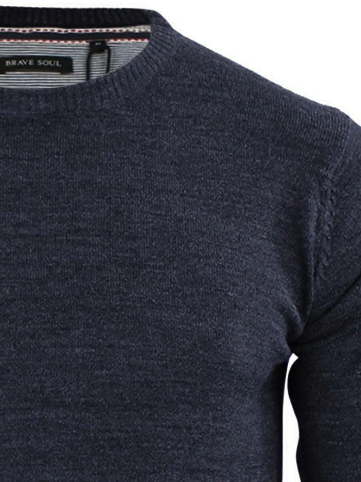 Mens-Jumper-Brave-Soul-Urbain-Knitted-Crew-Neck-Sweater thumbnail 34