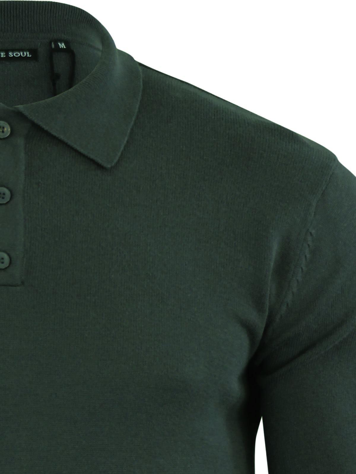 Brave-Soul-Patte-De-Boutonnage-Homme-Tricot-Polo-T-Shirt-a-Col-Pull miniature 22