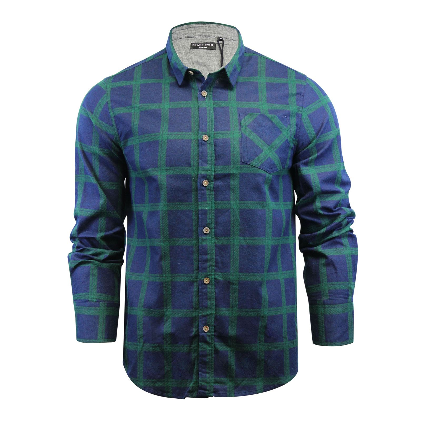 Brave-Soul-Mens-Check-Shirt-Flannel-Brushed-Cotton-Long-Sleeve-Casual-Top thumbnail 49