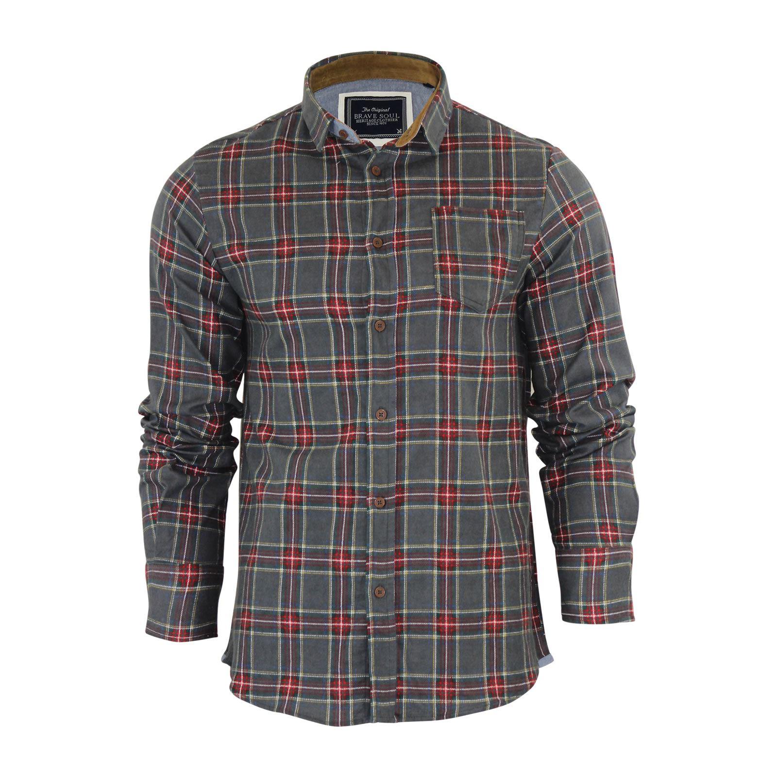 Alma-VALIENTE-HOMBRE-compruebe-Camisa-Algodon-Cepillado-De-Franela-Top-Manga-Larga-Casual miniatura 25