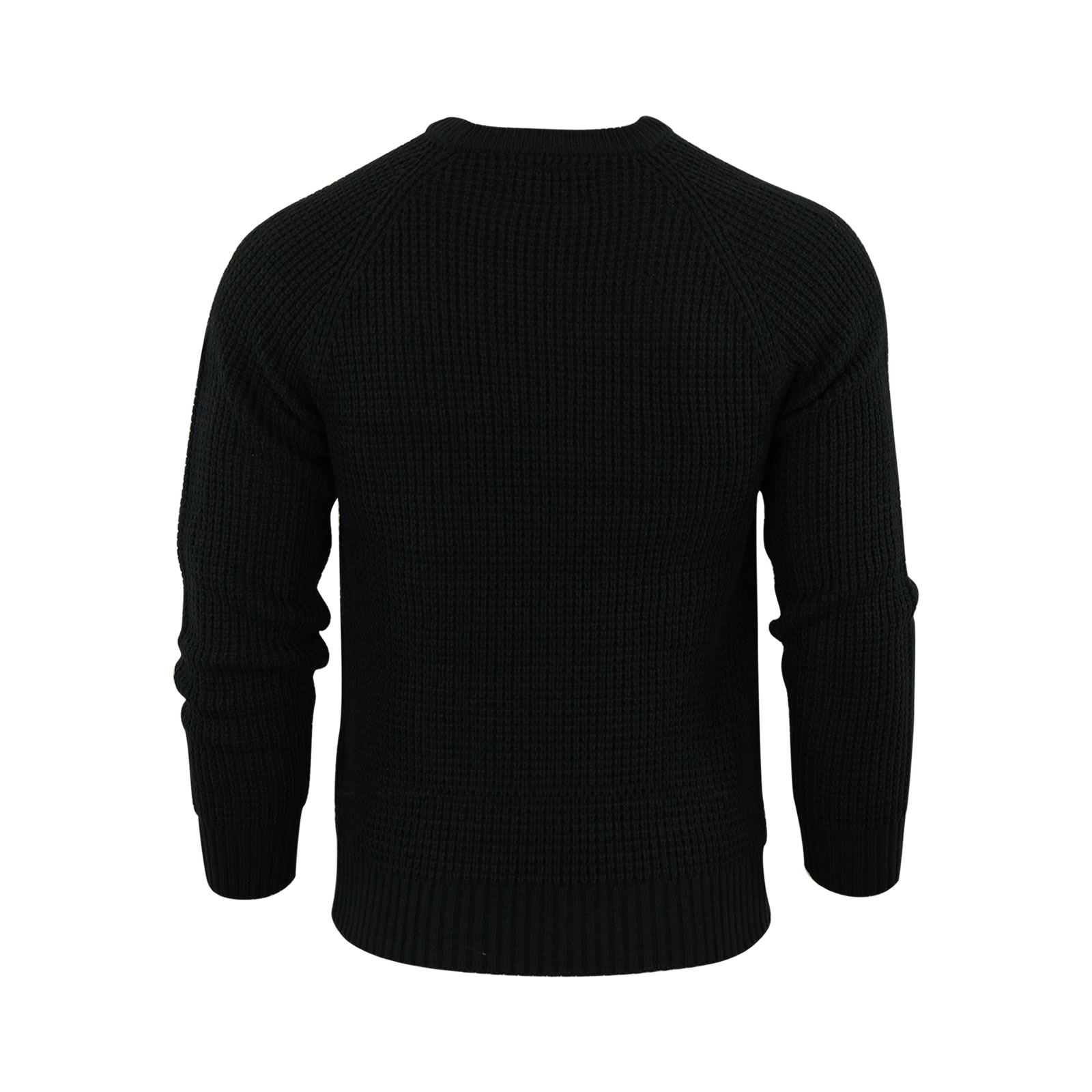 Mens-Jumper-Crosshatch-General-Waffle-Knitted-Crew-Neck-Wool-Mix-Sweater thumbnail 8