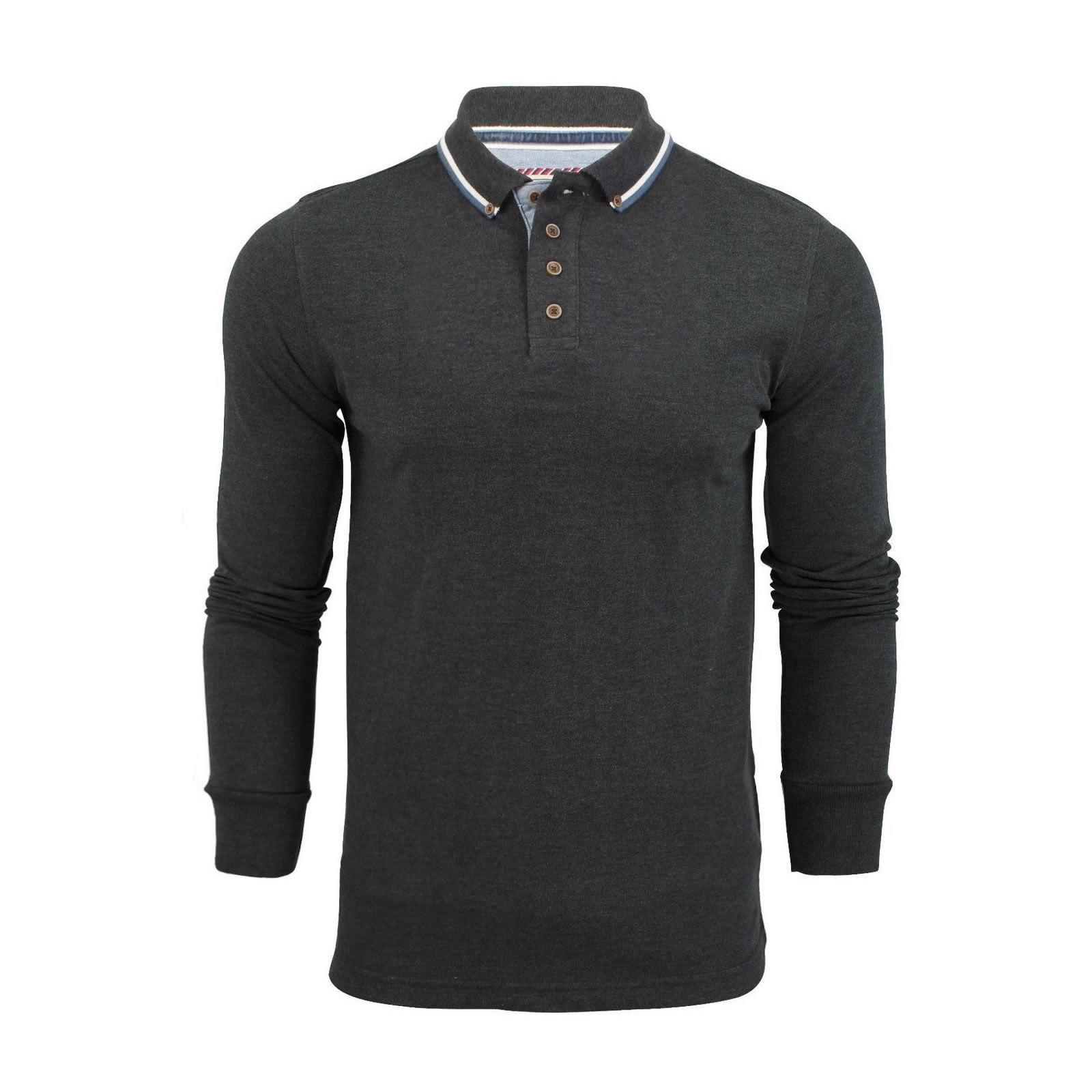 Brave-Soul-Lincoln-Homme-Polo-Shirt-a-Manches-Longues-En-Coton-Pique-Top-Casual miniature 15