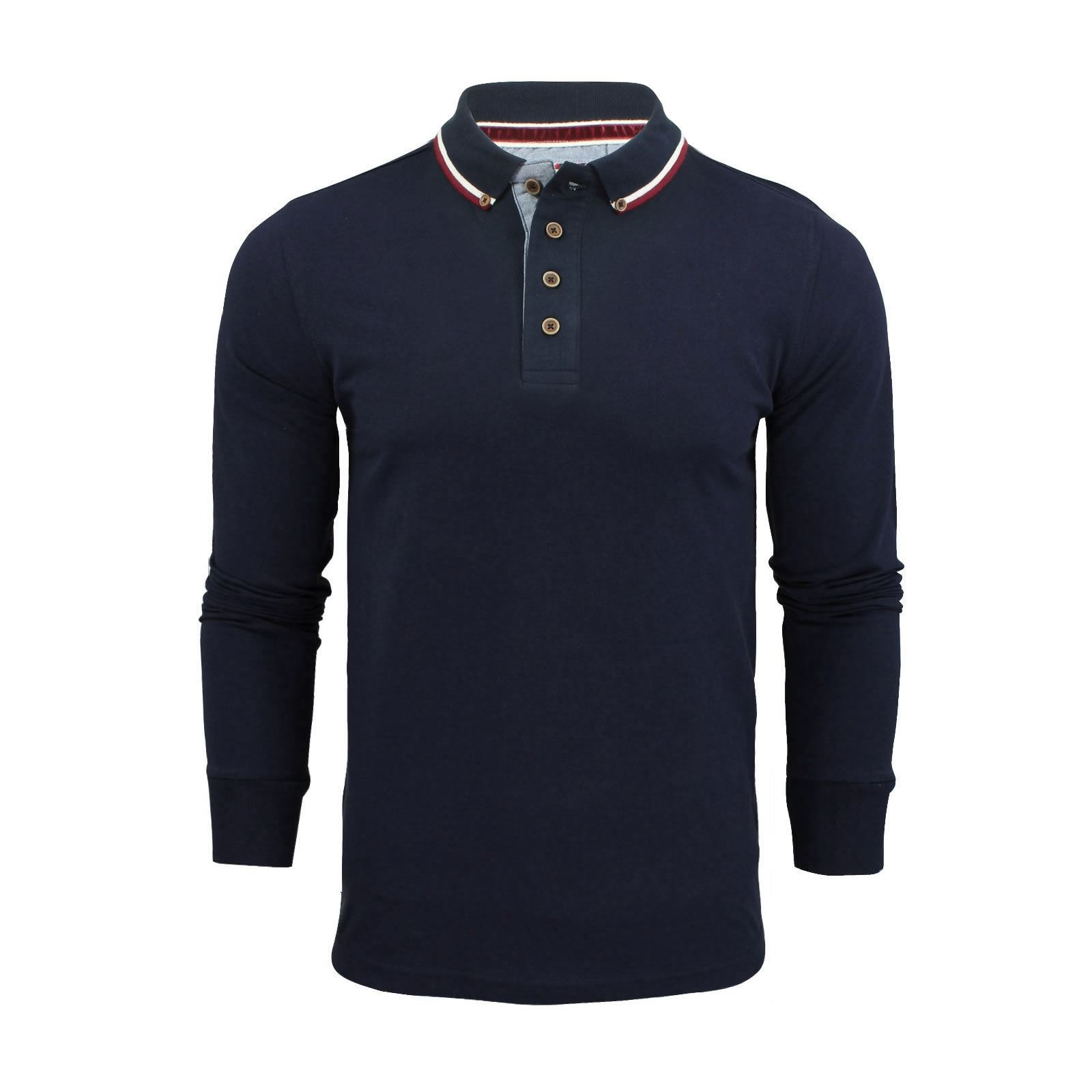 Brave-Soul-Lincoln-Homme-Polo-Shirt-a-Manches-Longues-En-Coton-Pique-Top-Casual miniature 2