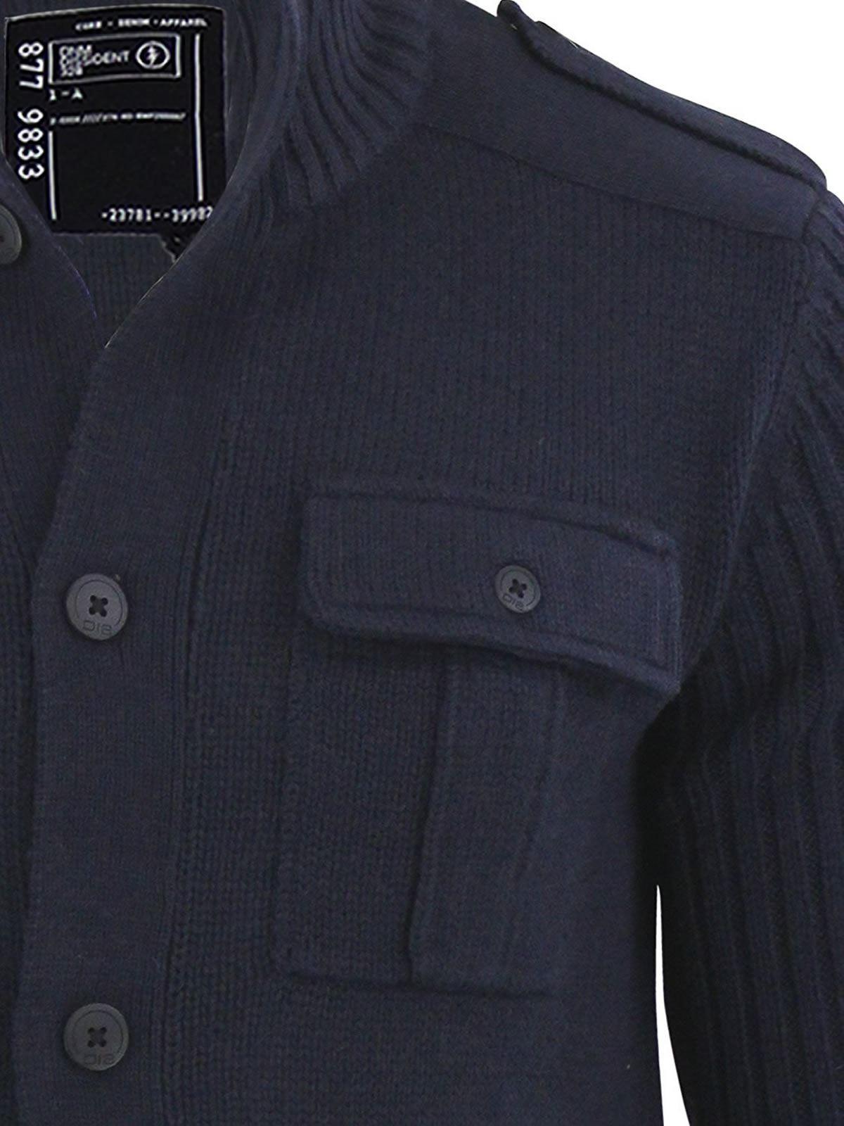 595d40e8267b3 Dissident Brooke Mens Cardigan Jumper Button Up Funnel Neck Sweater ...