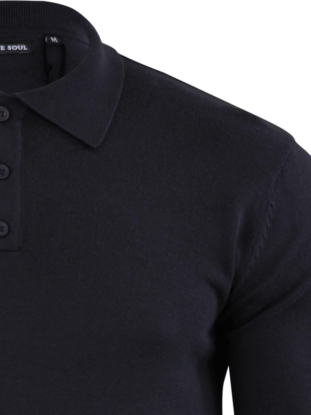 Brave-Soul-Patte-De-Boutonnage-Homme-Tricot-Polo-T-Shirt-a-Col-Pull miniature 16